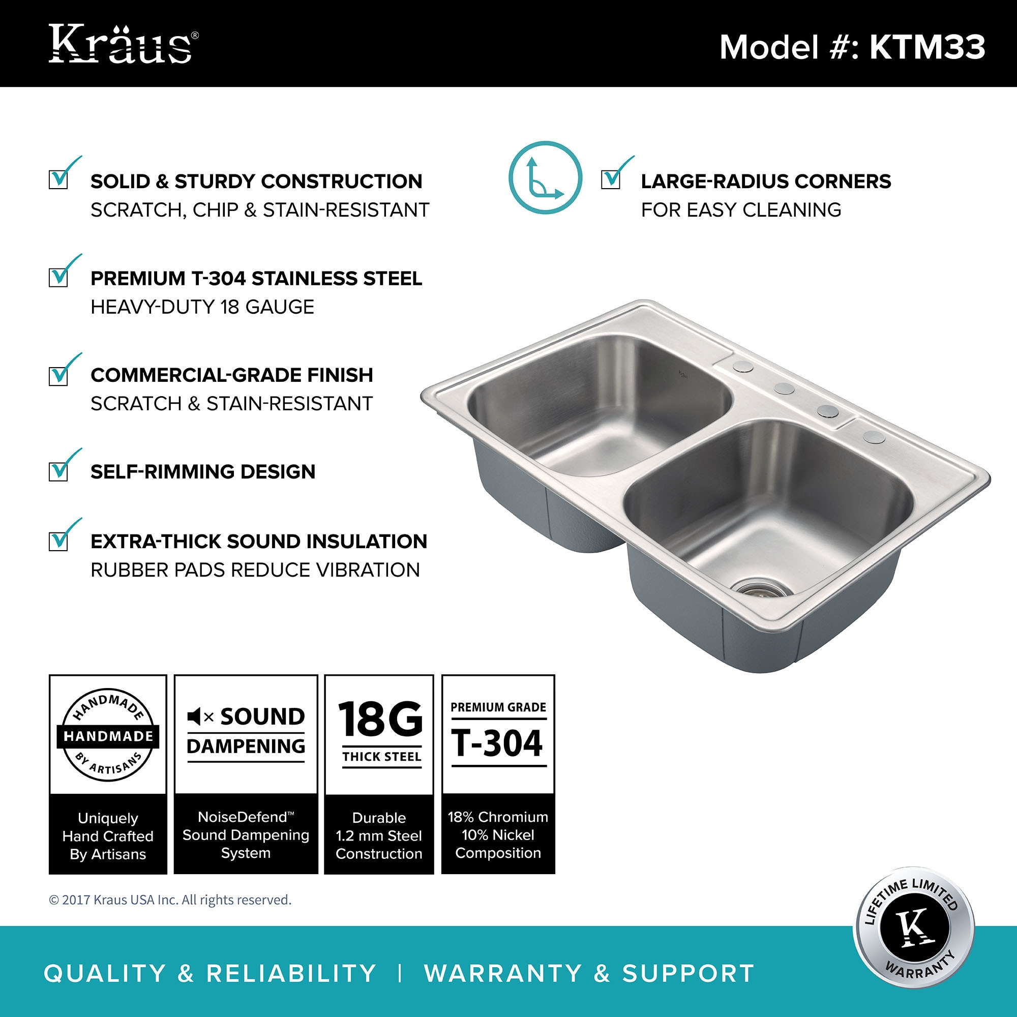 Shop Kraus KTM33 Drop In 33 In 18G 50/50 2 Bowl Stainless Steel Kitchen Sink,  NoiseDefend Soundproofing, Strainers, Towel   Free Shipping Today    Overstock ...
