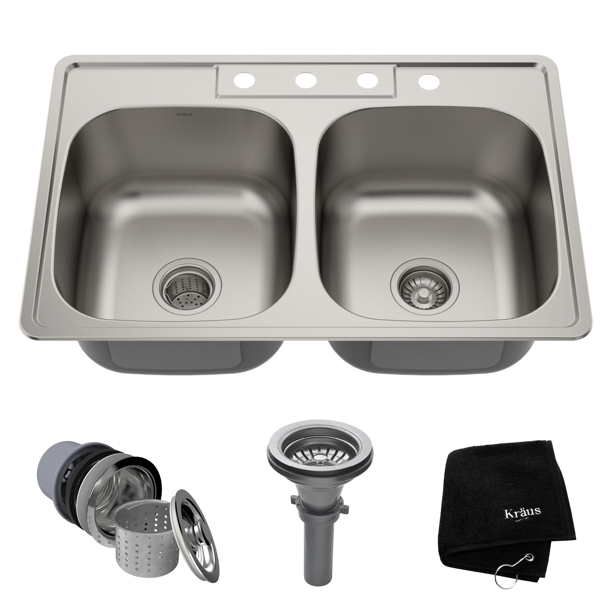 Kraus Ktm33 Drop In 33 18g 50 2 Bowl Stainless Steel Kitchen Sink Noisedefend Soundproofing Strainers Towel