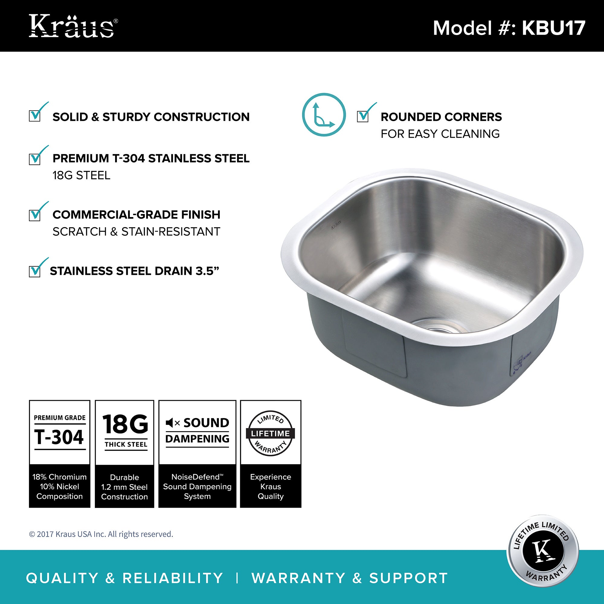 Shop KRAUS KBU17 15 Inch Undermount Single Bowl 18 Gauge Stainless Steel Bar  Sink With NoiseDefend Soundproofing   Free Shipping Today   Overstock.com    ...