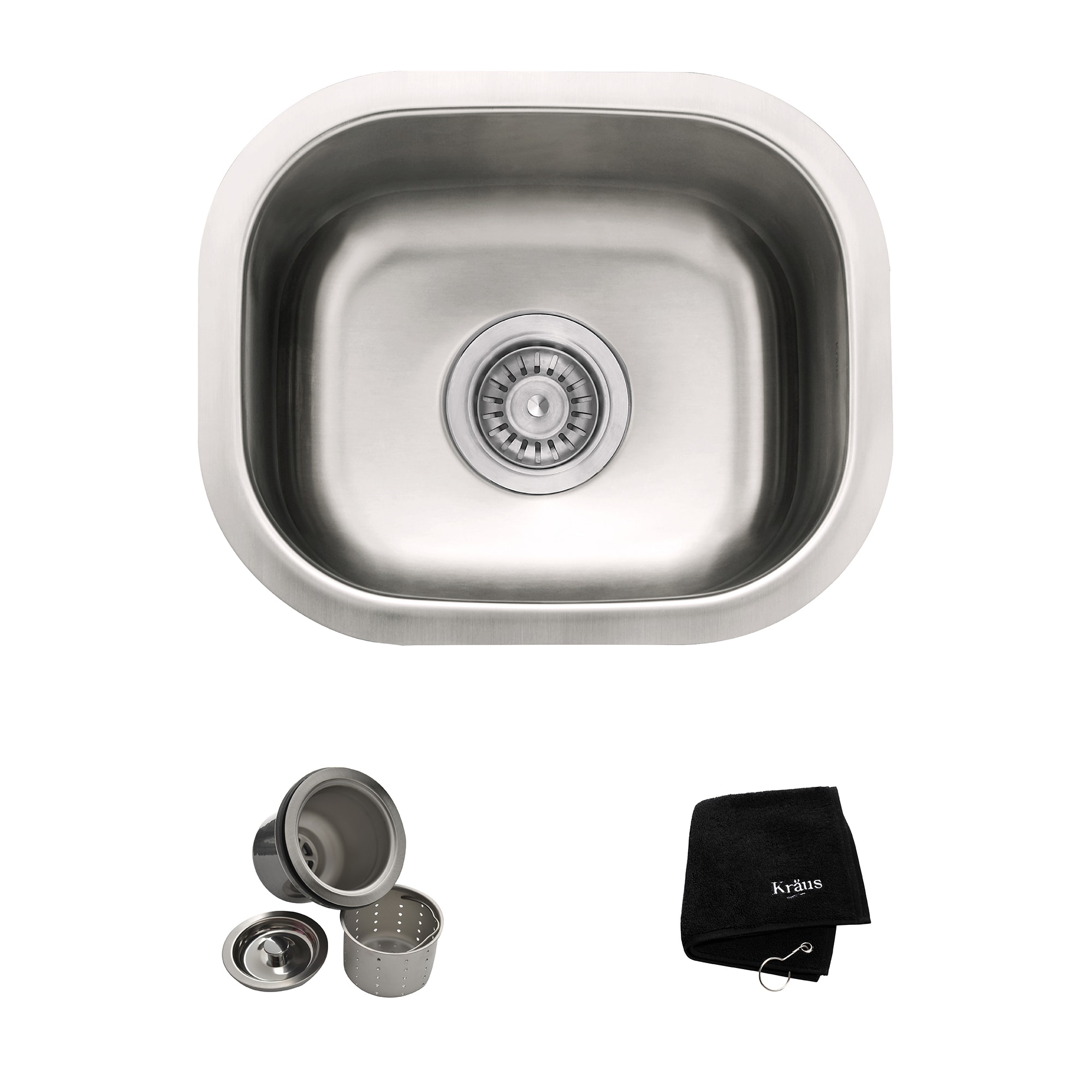 KRAUS KBU17 15 Inch Undermount Single Bowl 18 Gauge Stainless Steel Bar Sink  With NoiseDefend
