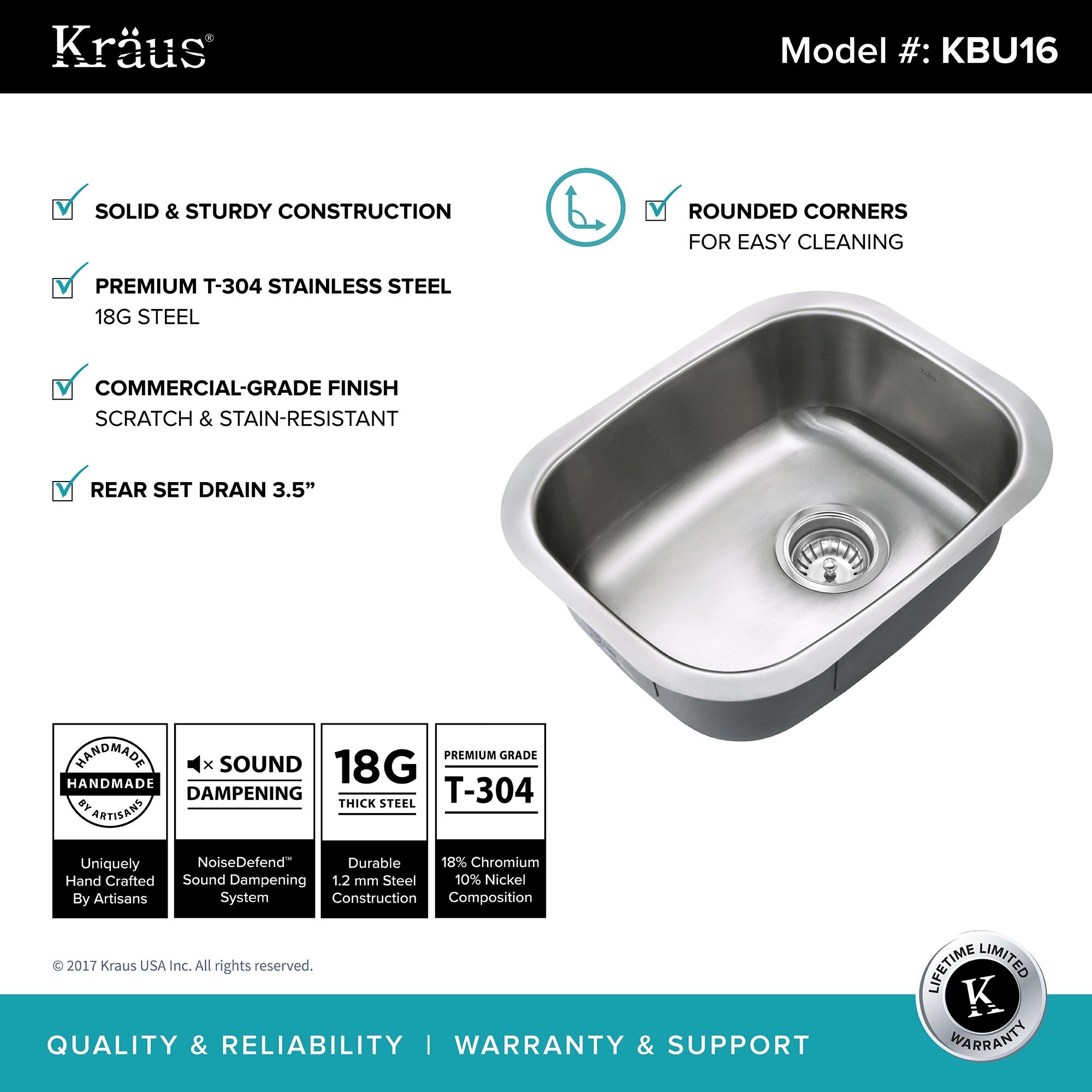 Shop Kraus KBU16 Premier Undermount 15-inch 18 gauge Single Bowl ...
