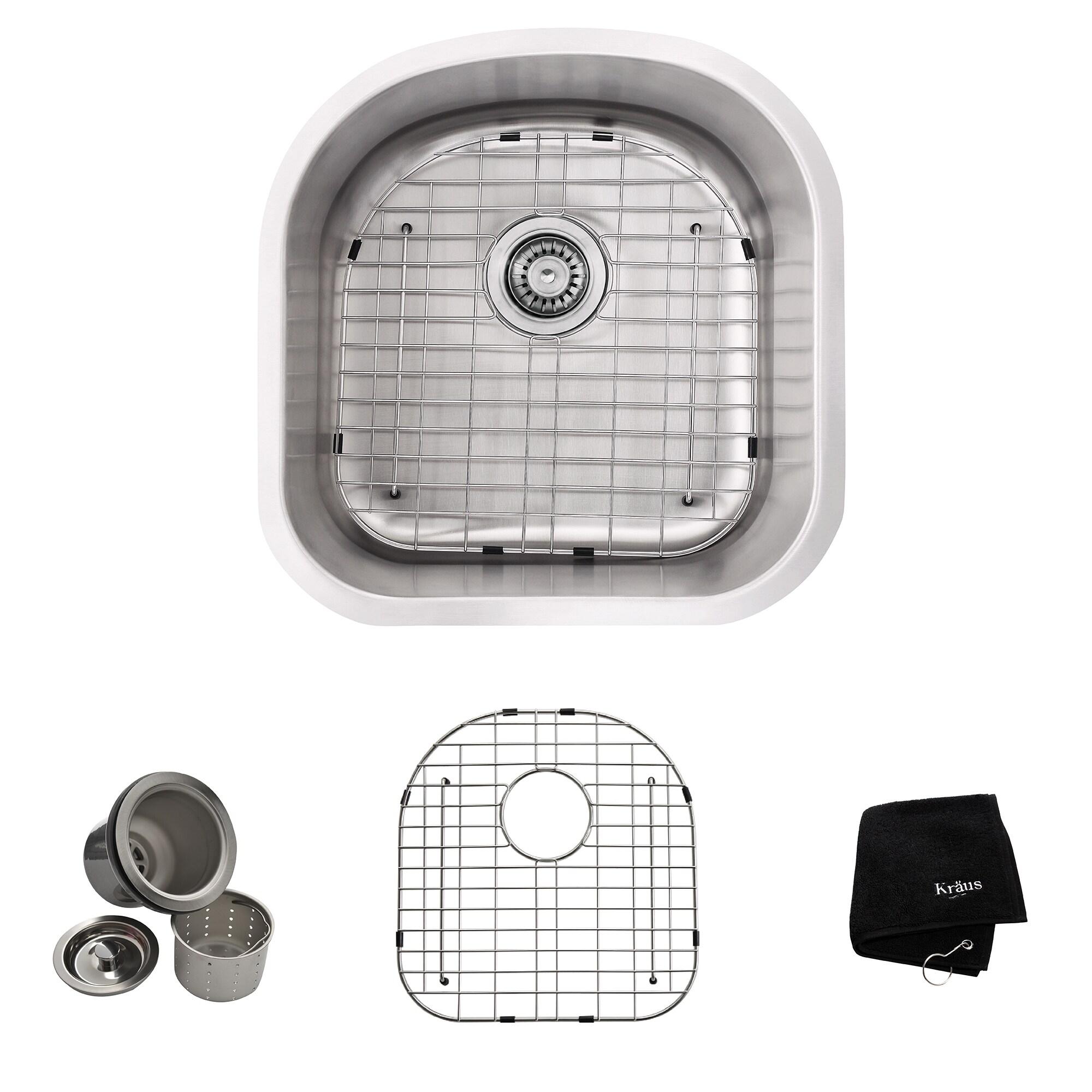 Shop kraus kbu15 premier undermount 20 in 16g 1 bowl satin stainless steel kitchen sink grid strainer towel free shipping today overstock 6472922
