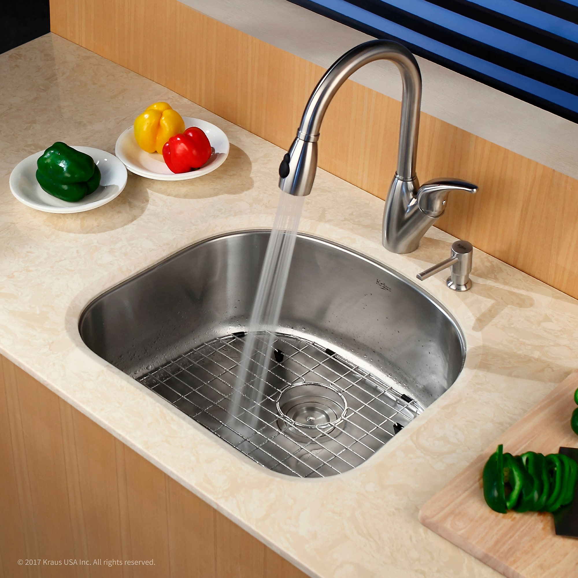 kraus 20 inch undermount single bowl 16 gauge stainless steel kitchen sink with noisedefend soundproofing   free shipping today   overstock com   14067945 kraus 20 inch undermount single bowl 16 gauge stainless steel      rh   overstock com