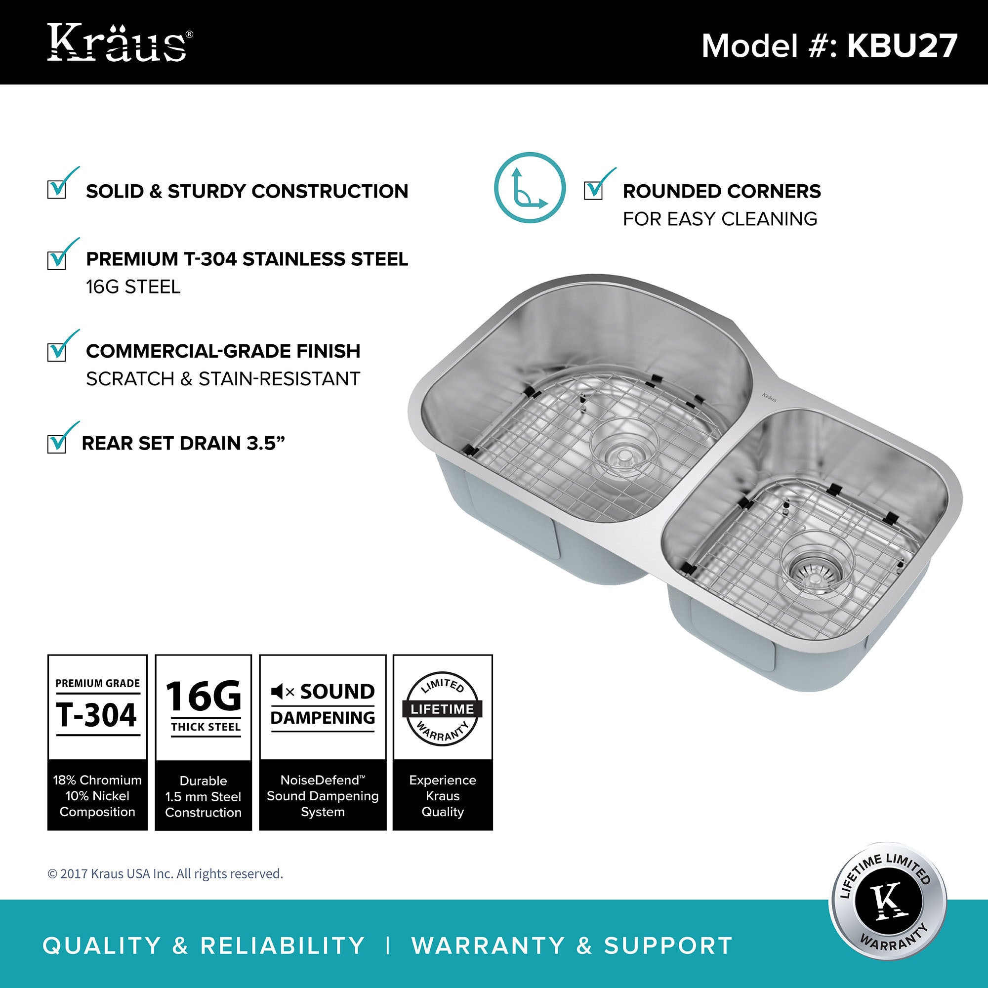 KRAUS 35 inch Undermount 60 40 Double Bowl 16 Gauge Stainless