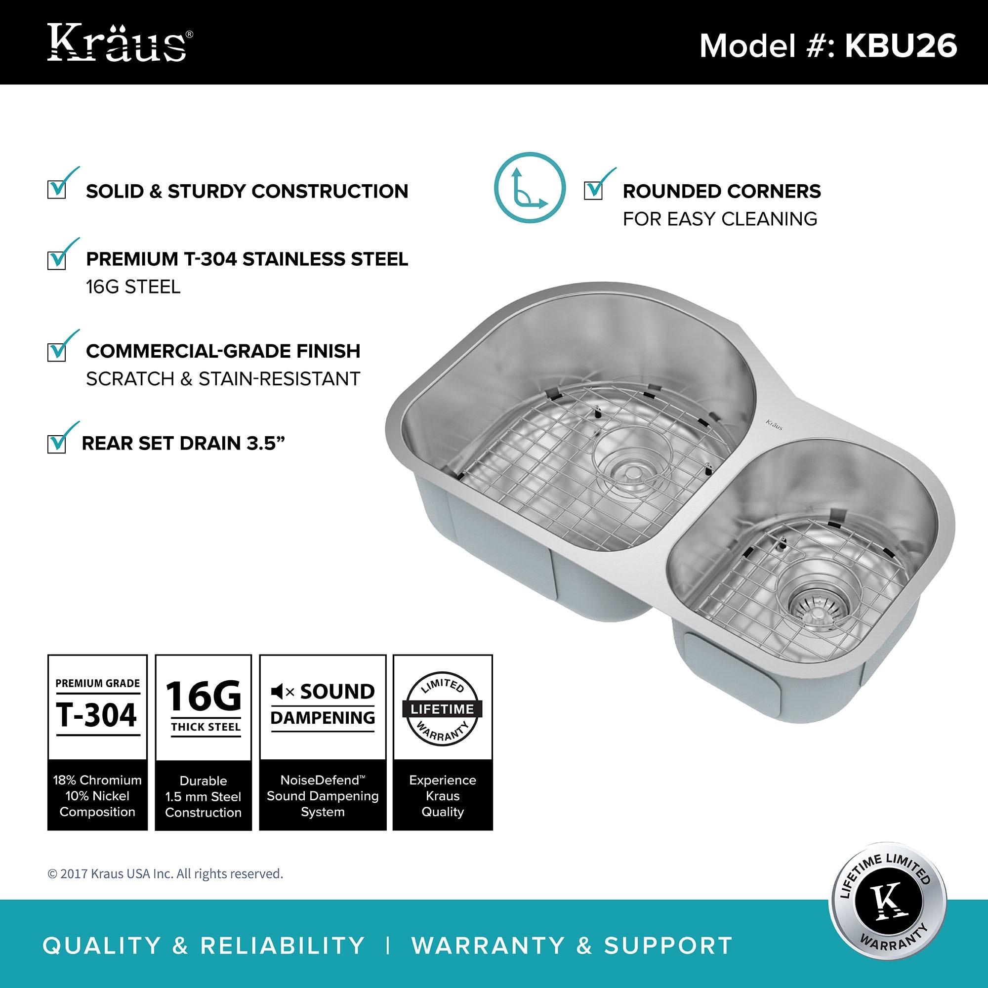 Shop Kraus KBU26 Premier Undermount 31-inch 16 gauge 60/40 Double ...