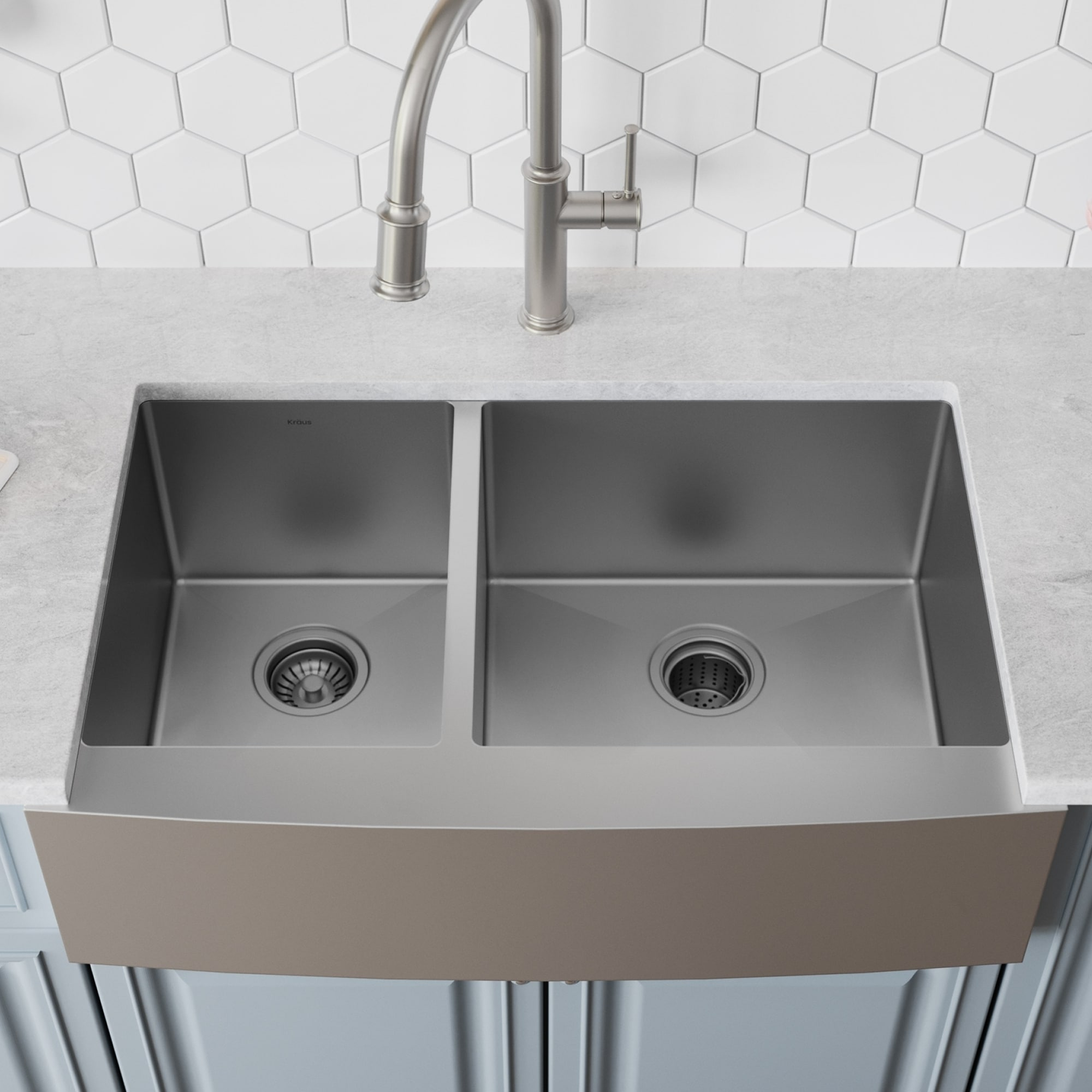 b267799cef Shop Kraus KHF204-33 Farmhouse Apron Front 33-in 16G 40/60 2-Bowl Satin Stainless  Steel Kitchen Sink, Grids, Strainers, Towel - On Sale - Free Shipping ...