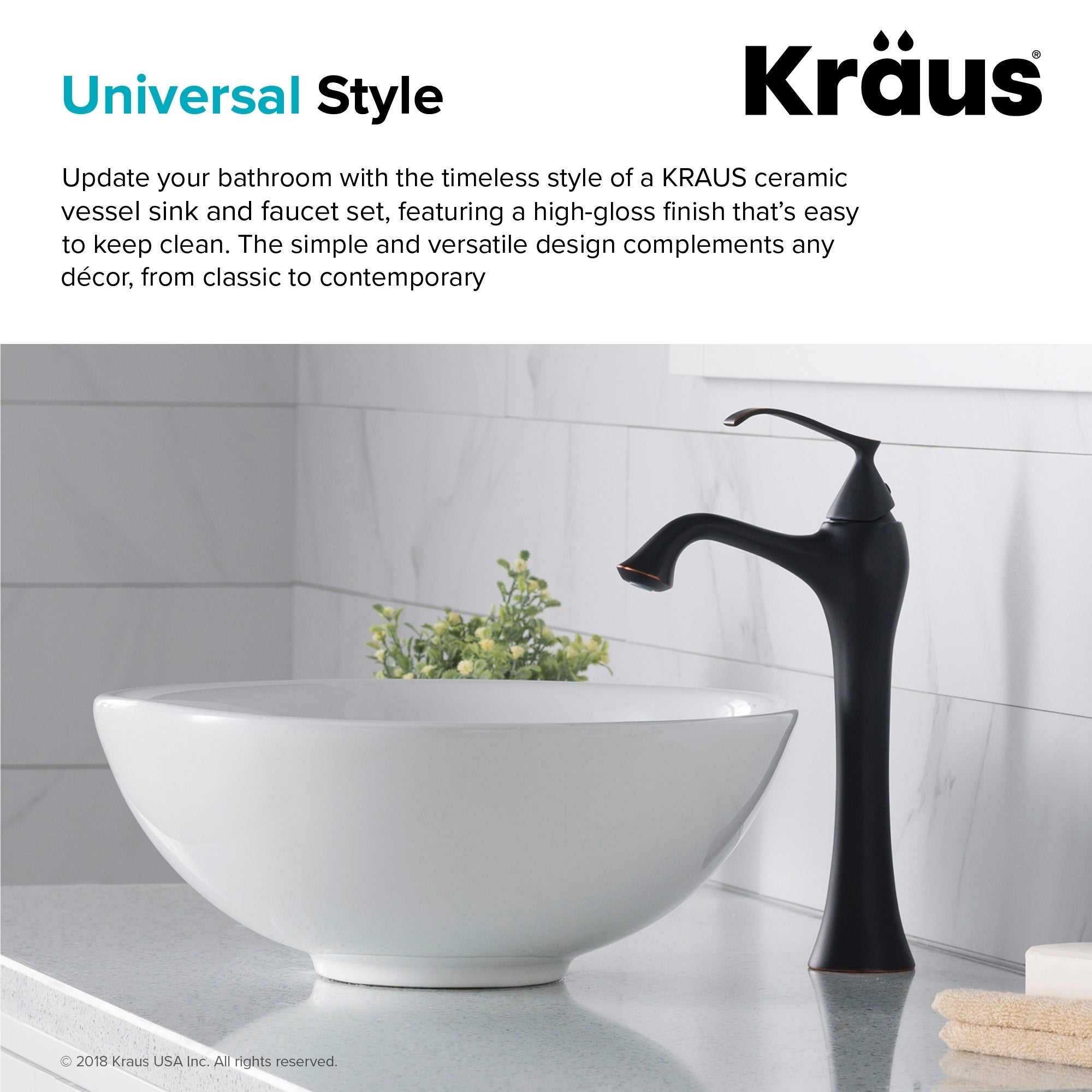 Kraus 3 In 1 Bathroom Set White Ceramic Round Vessel Sink Ventus Single Hole Faucet And Pop Up Drain Oil Rubbed Bronze