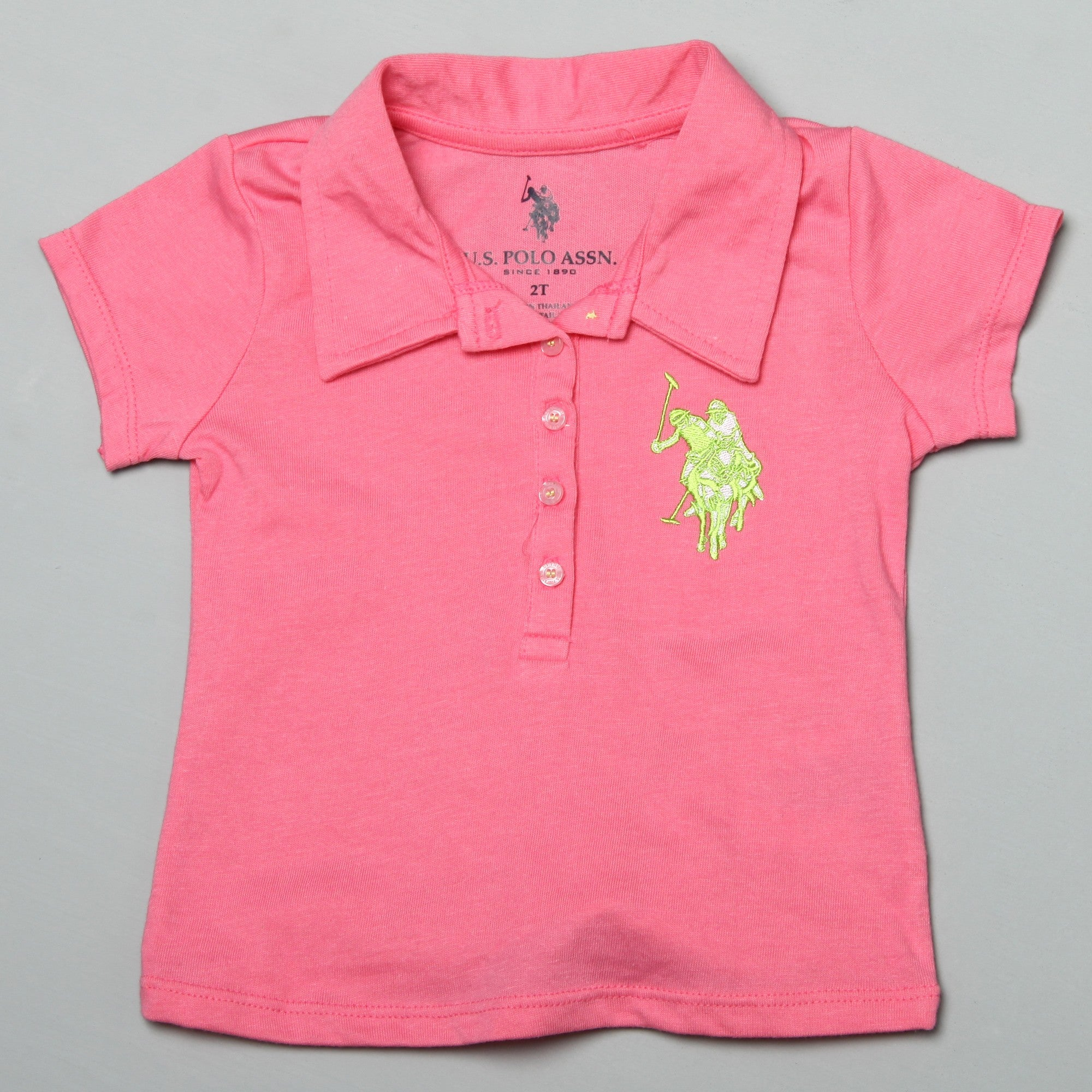 Shop Us Polo Toddler Girls Embroiderd Polo Shirt With Plaid Shorts