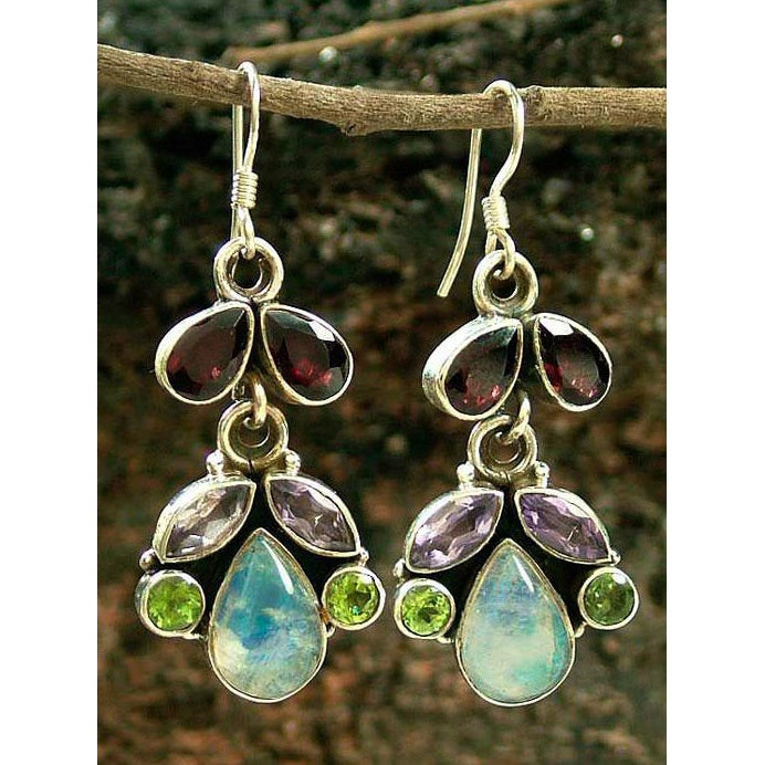 gemstone gem silver sterling pendant multi earrings