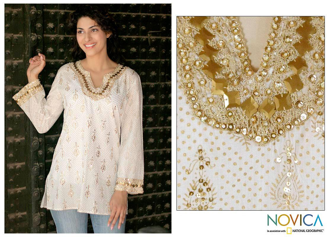40b0d645c8d0a2 Handmade Golden Glamour Cotton White with Gold Block Print Embroidery Womens  Tunic (India). by Novica
