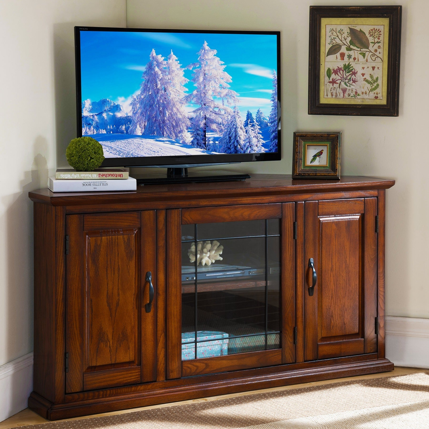 shop burnished oak 50 inch tv stand and media corner console free shipping today overstockcom 6483863 - Corner Tv Stands 50 Inch