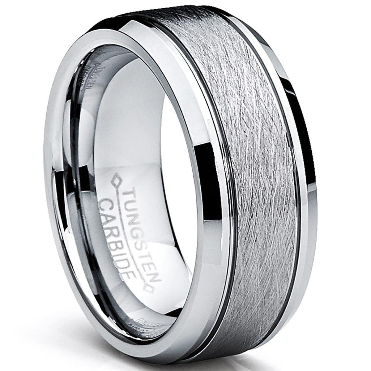 Shop Oliveti Tungsten Carbide Men S Brushed Center Ring Wedding