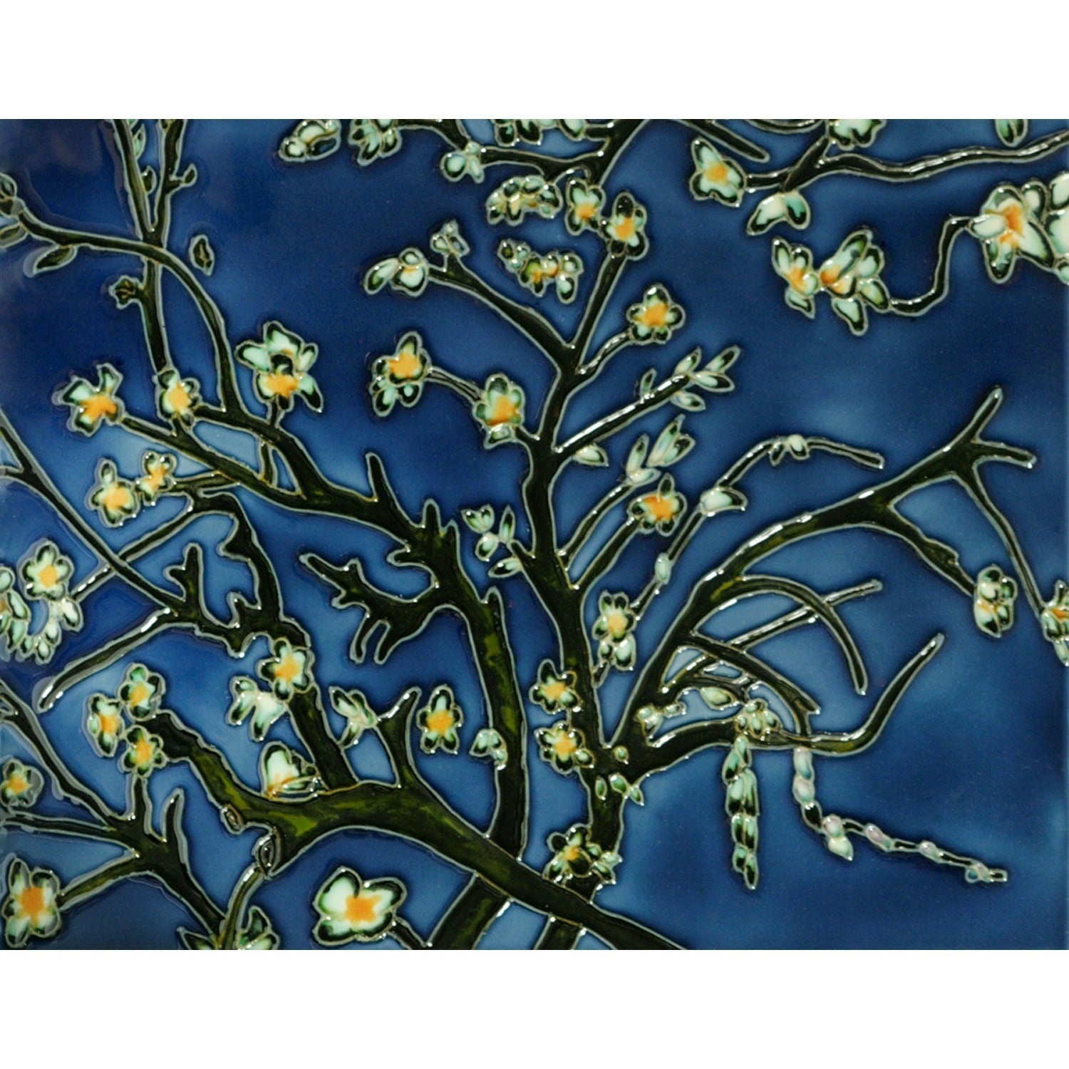 Van Gogh \'Branches of an Almond Tree\' Hand-painted Felt Backed Tile ...