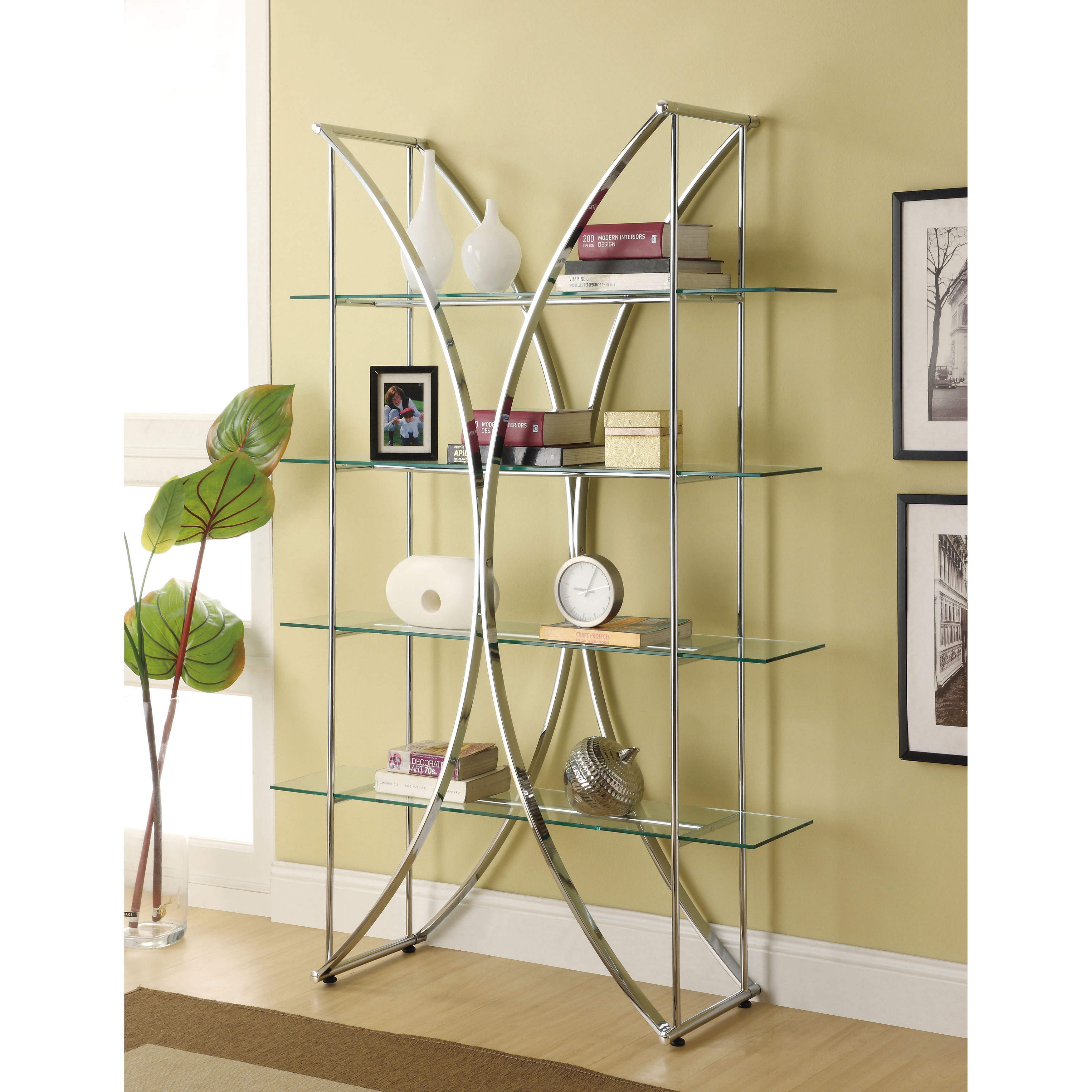 Coaster Company Chrome Etagere With Tempered Gl Shelves Free Shipping Today 6499728