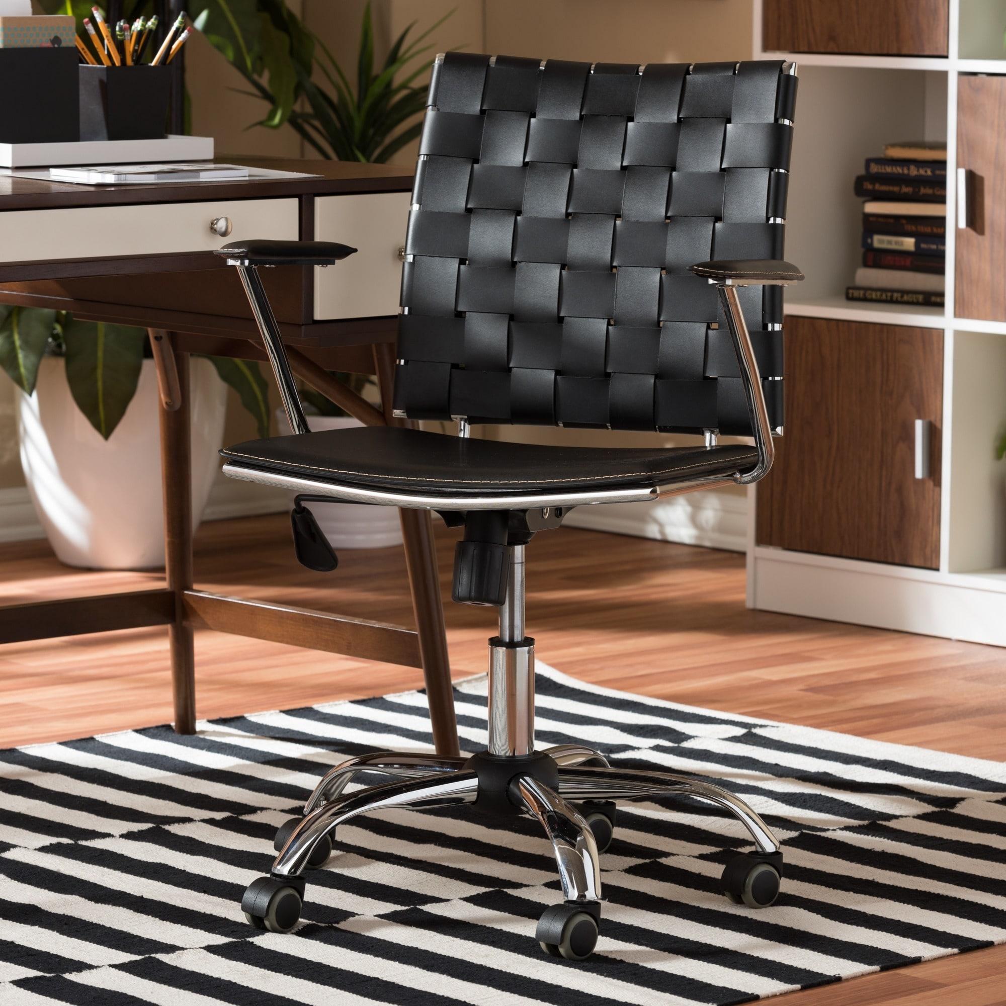 Astonishing Baxton Studio Vittoria Black Leather Modern Office Chair Interior Design Ideas Gentotryabchikinfo