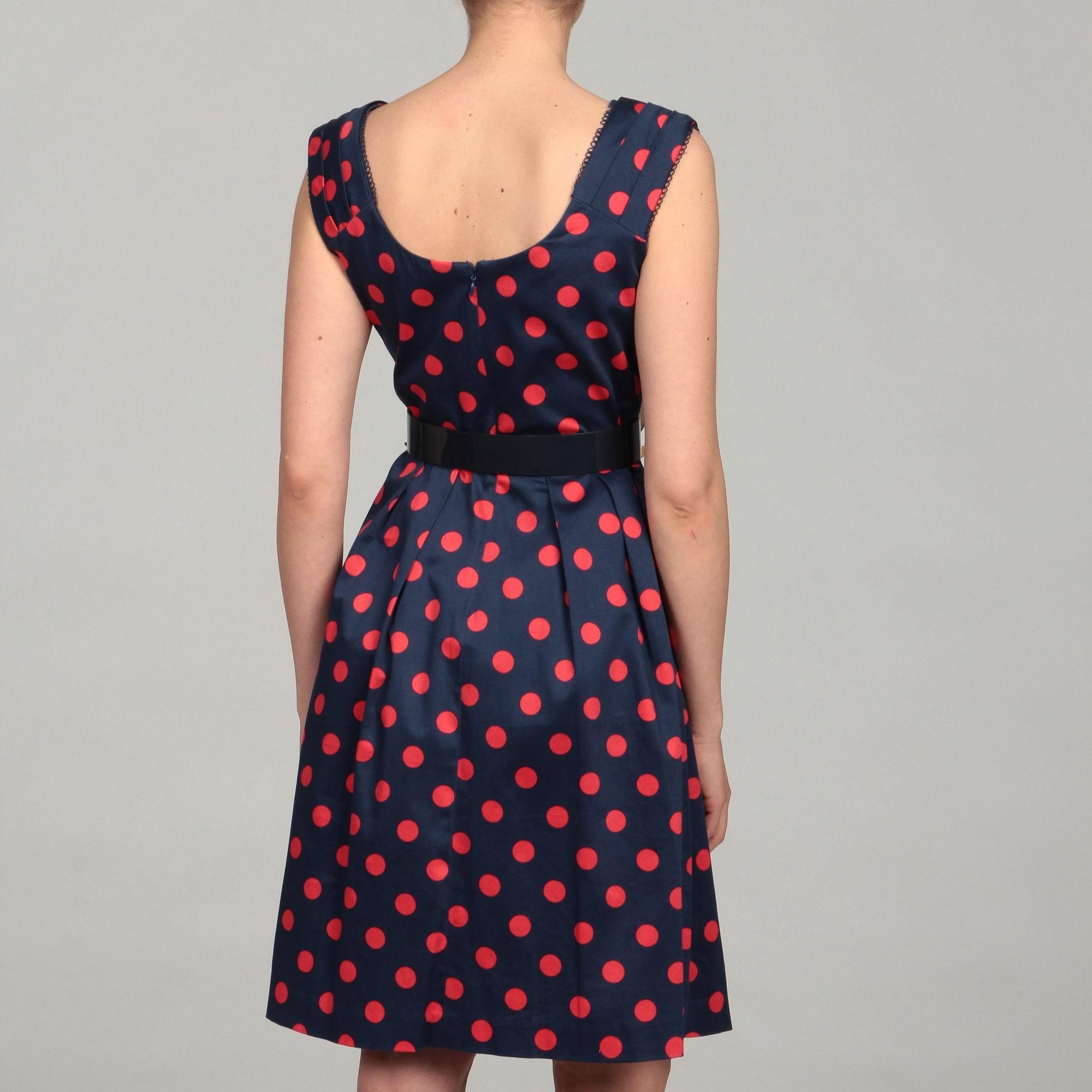 d0f6346ca5 Shop Chetta B Women s Polka Dot Belted Dress - Free Shipping Today ...