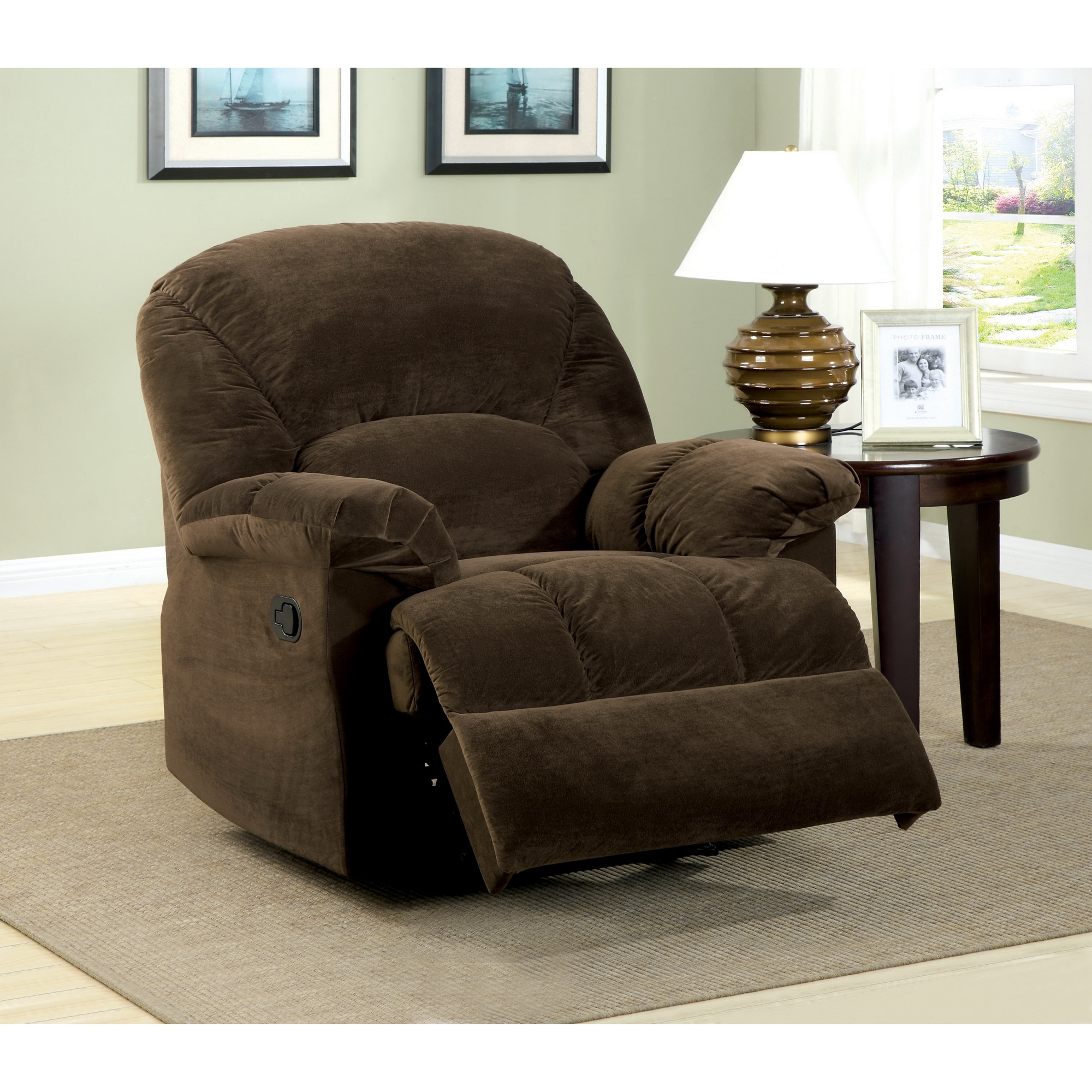 Shop furniture of america harper smooth cocoa brown bella upholstery recliner chair free shipping today overstock com 6505112