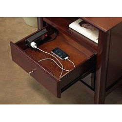 Contemporary Shaker Nightstand With Charging Station   Free Shipping Today    Overstock.com   14094155