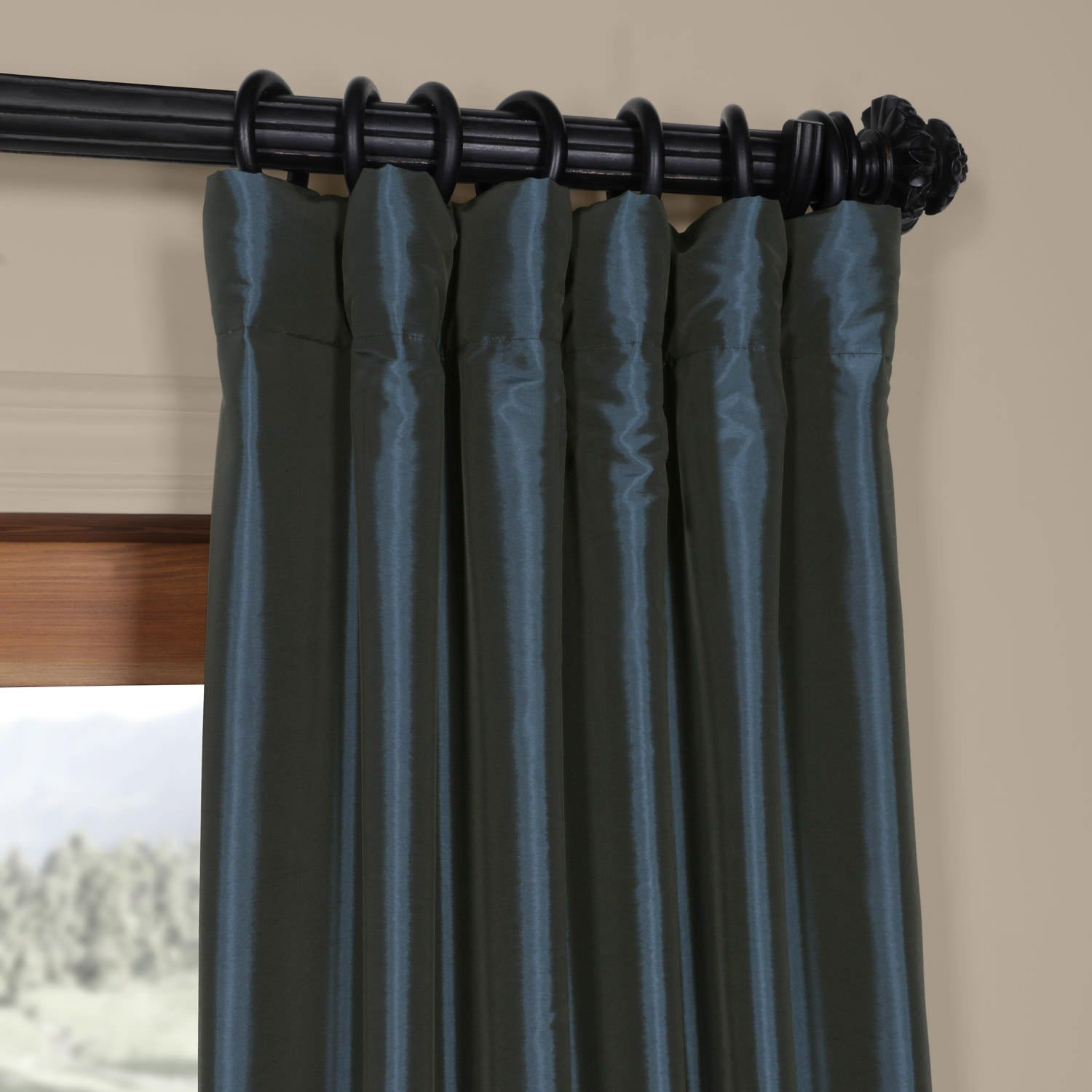 Shop Exclusive Fabrics Solid Faux Silk Taffeta Navy Blue Curtain Panel