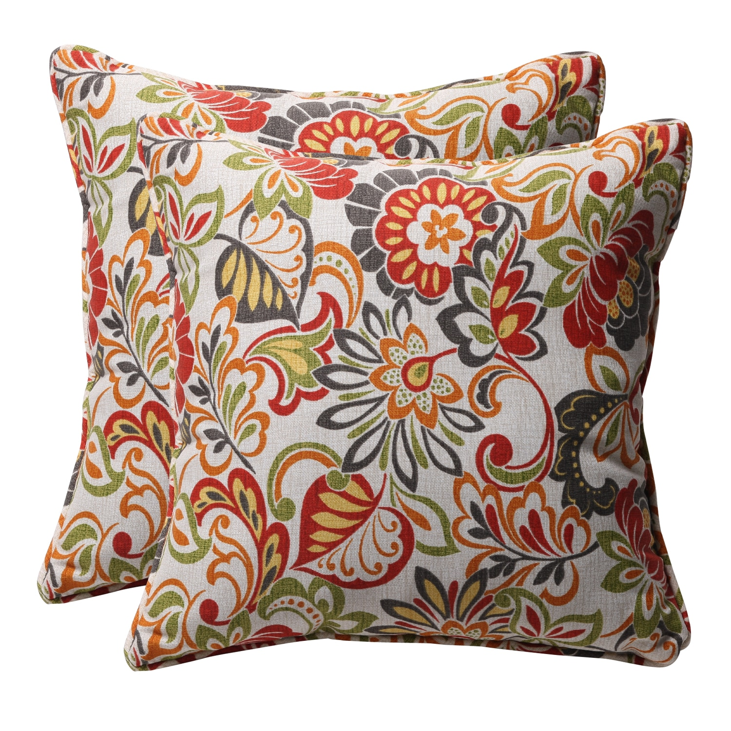 Decorative Multicolored Floral Square Outdoor Toss Pillows (Set of ...