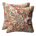 Decorative Multicolored Floral Square Outdoor Toss Pillows (Set of 2)