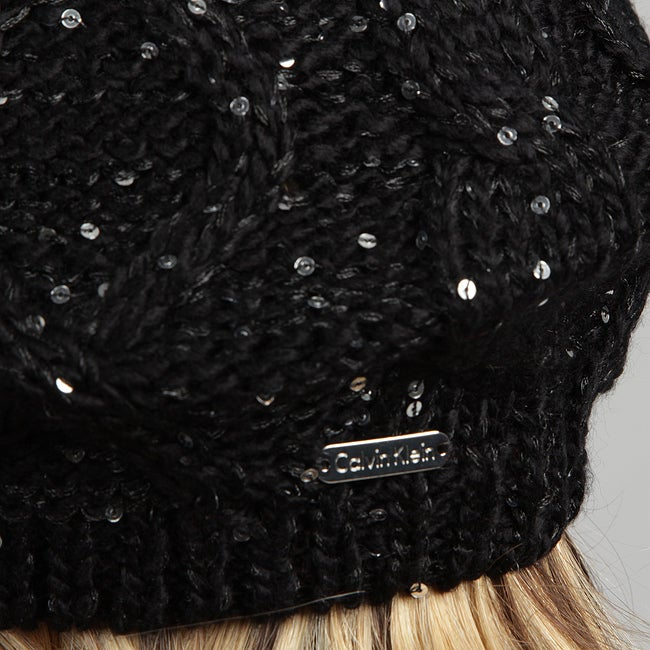 c9aa98e29bba82 Shop Calvin Klein Women's Sequined Cable Beret Hat FINAL SALE - Free  Shipping On Orders Over $45 - Overstock - 6514298