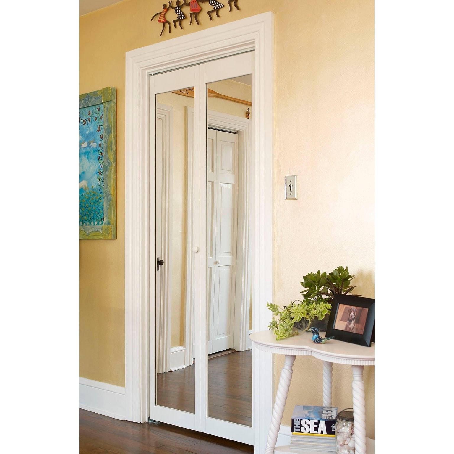 Shop Traditional Unfinished Mirror Bi Fold Doors Free Shipping