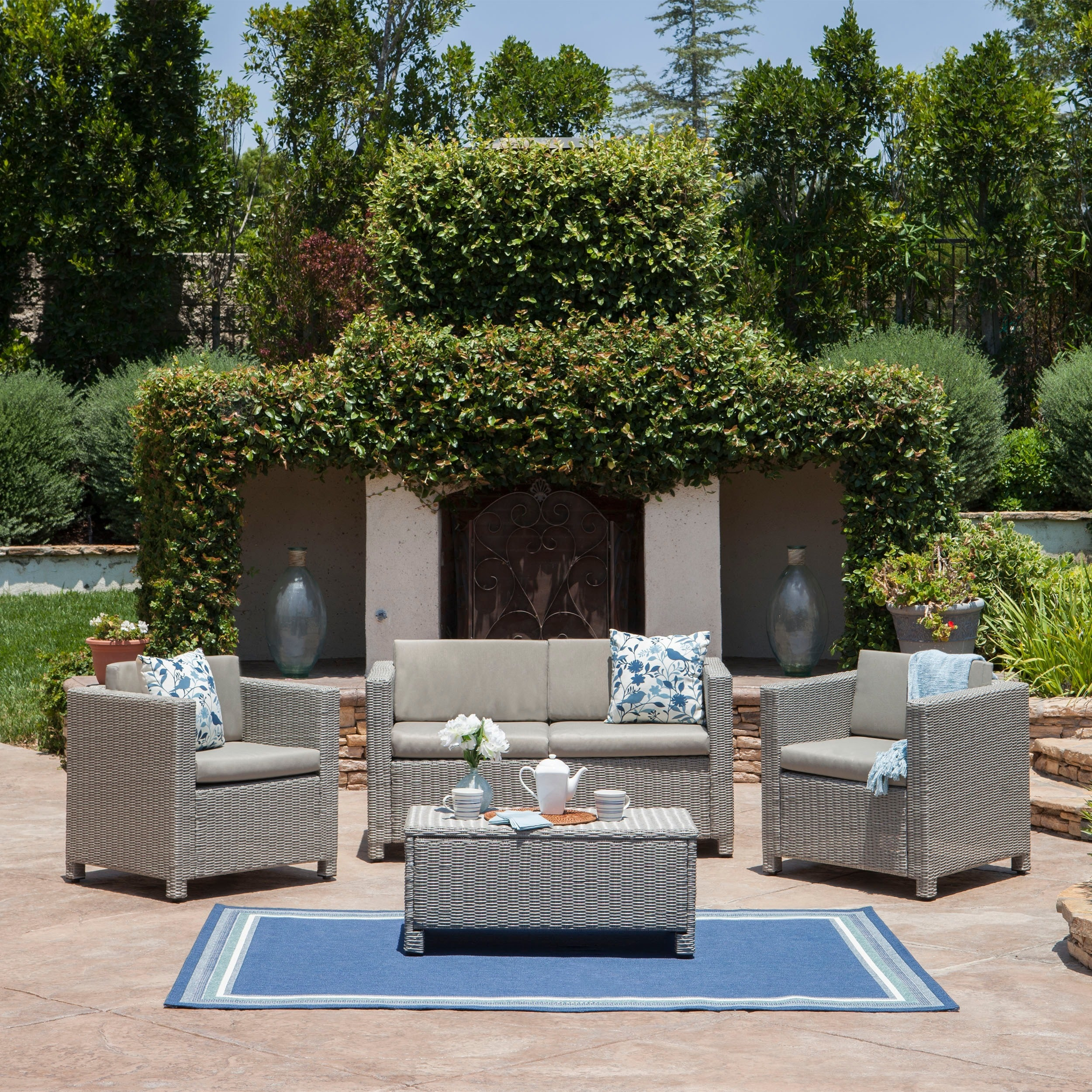 Puerta Outdoor 4 Piece Sofa Set By Christopher Knight Home On Free Shipping Today 6518668