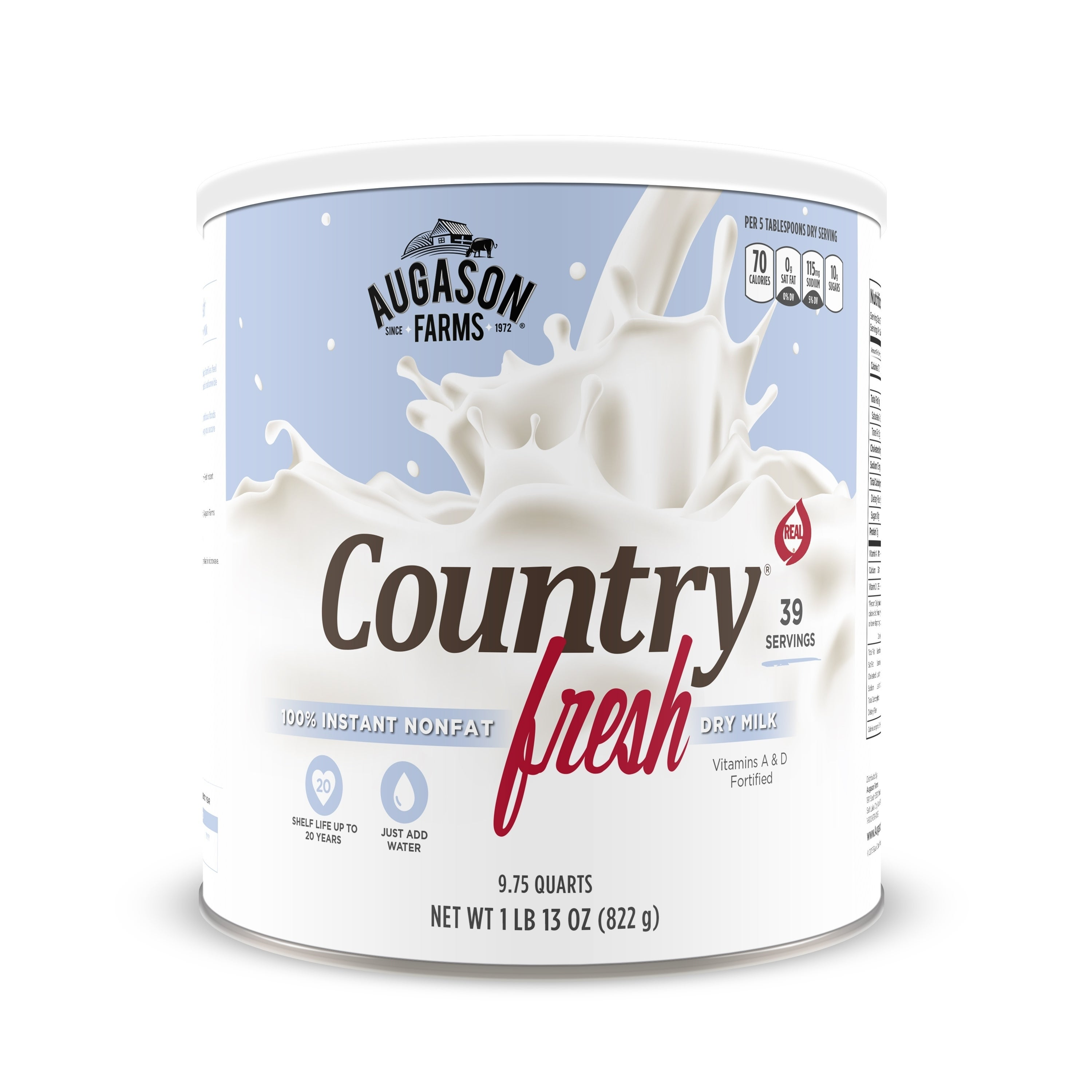 Augason Farms Country Fresh Real Instant Nonfat Dry Milk Large Can