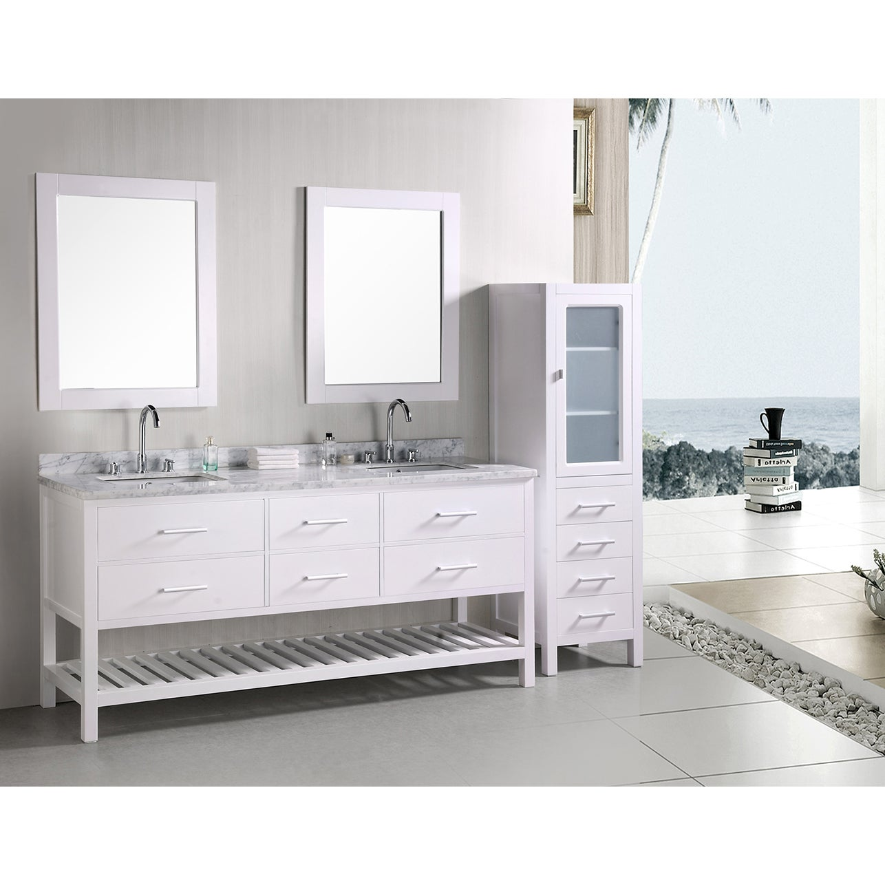 Shop design element london 72 inch double sink bathroom vanity set free shipping today overstock com 6519313