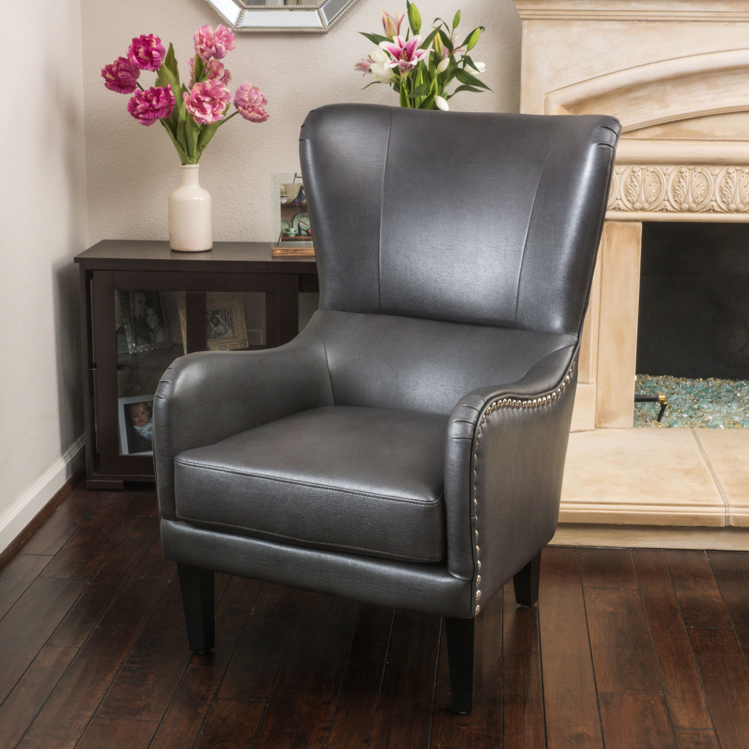 Merveilleux Shop Lorenzo Bonded Leather Studded Club Chair By Christopher Knight Home    Free Shipping Today   Overstock.com   6520447