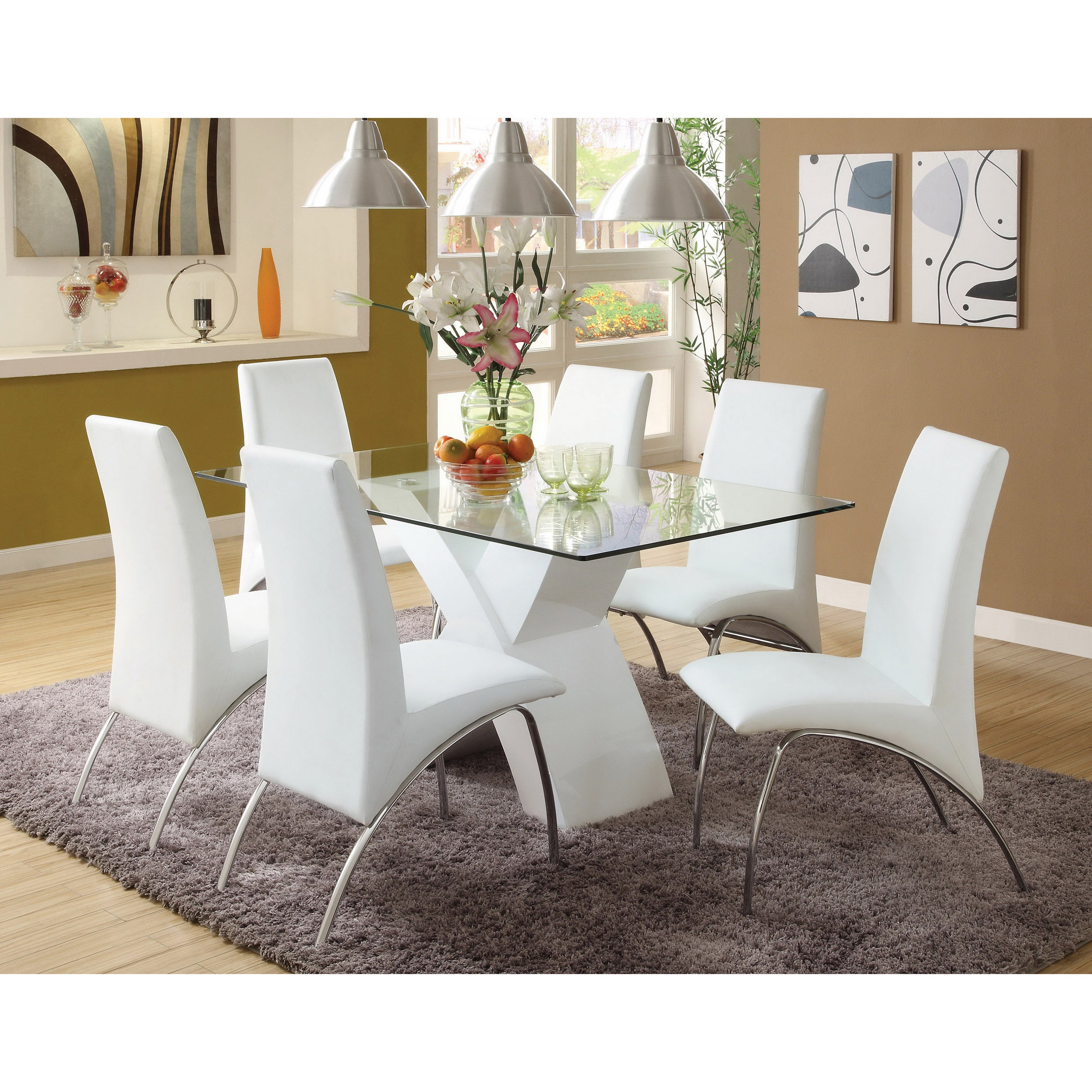Furniture Of America Chambers 7 Piece Contemporary Glass Top Dining Set    Free Shipping Today   Overstock.com   14107082