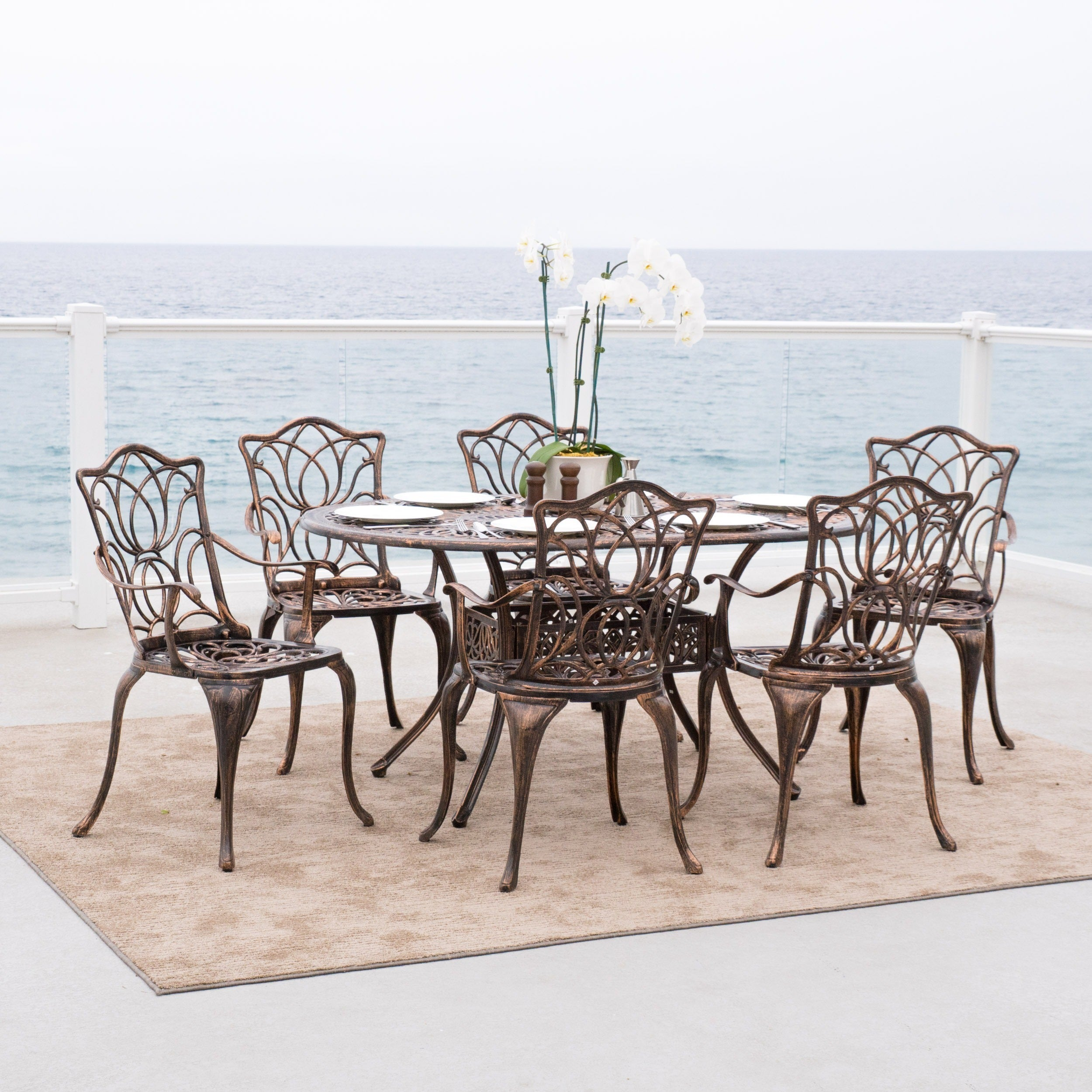 Haitian Outdoor Cast Aluminum 7 Piece Dining Set By Christopher Knight Home    Free Shipping Today   Overstock   14108574