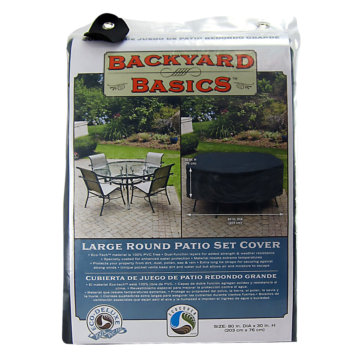 Shop mr bbq black round table and patio set cover free shipping on orders over 45 overstock 6523682