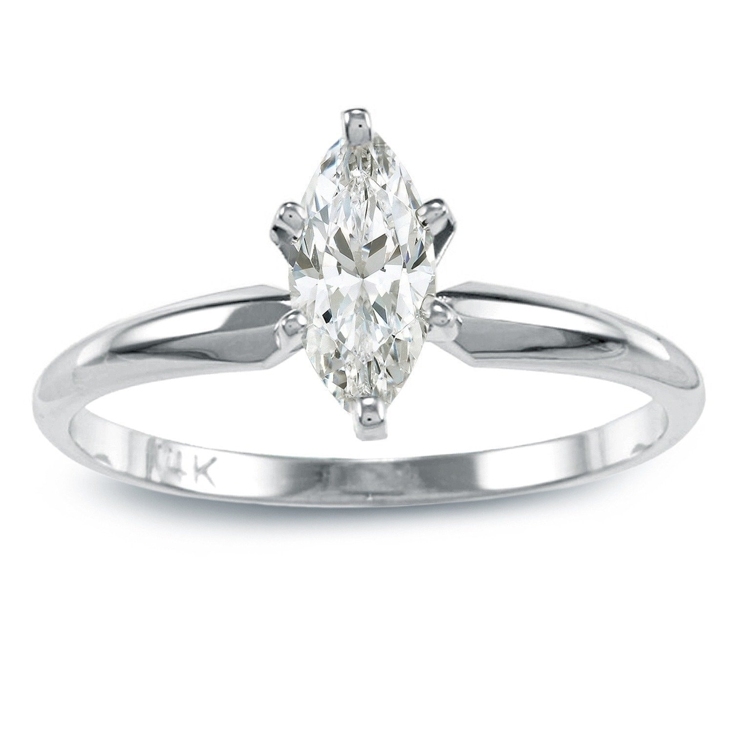 Auriya 14k Gold 1/2 carat TW Marquise Solitaire Diamond Engagement Ring