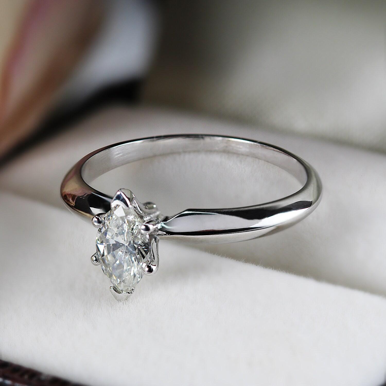 64bbb6c0dfba7 Shop Auriya 14k Gold 1 2ct TDW Marquise Diamond Solitaire Engagement ...