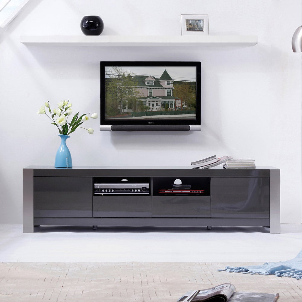 Shop \'Maya\' Grey High-Gloss Stainless Steel TV Stand - Free Shipping ...