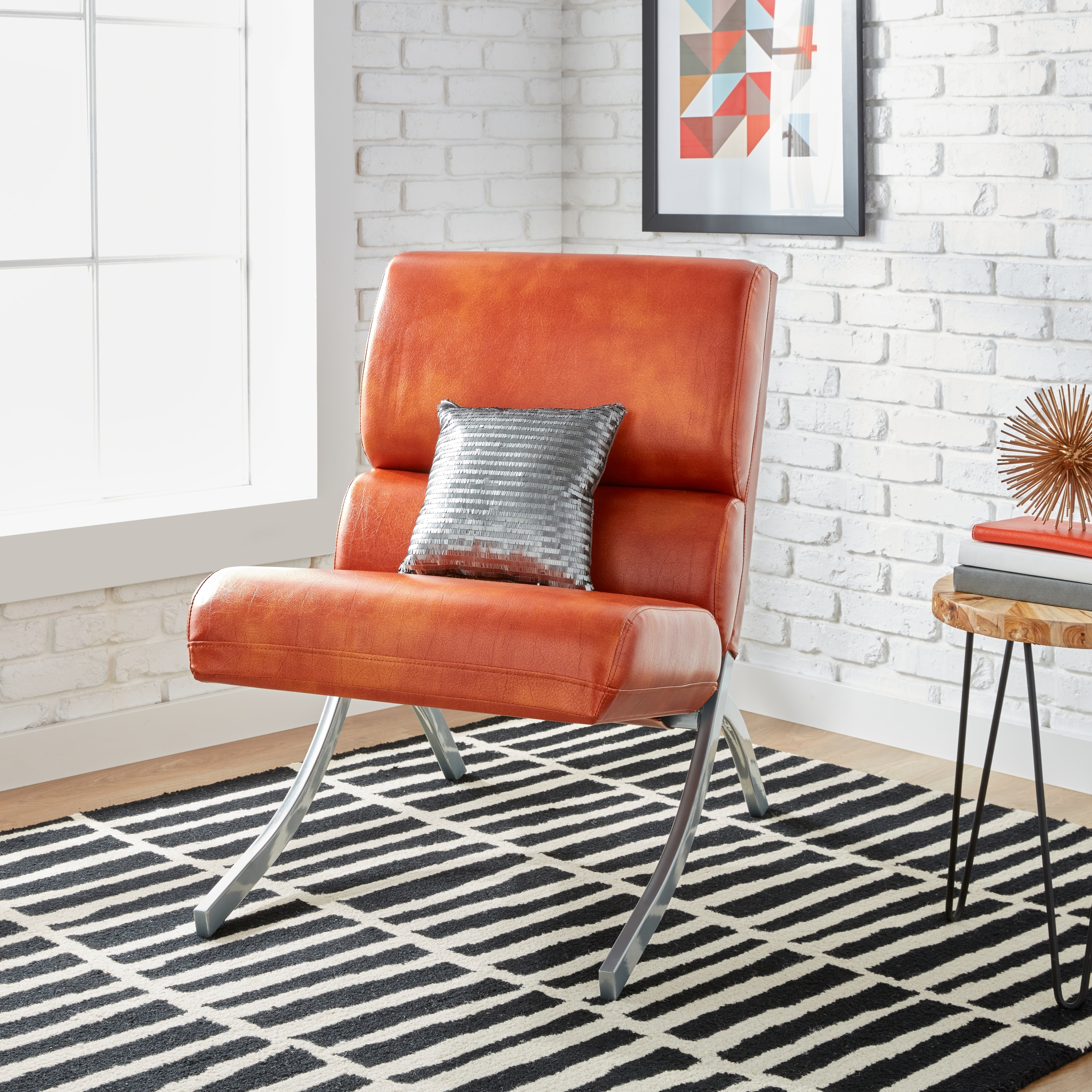 Shop Clay Alder Home Rialto Rust Faux Leather Chair - Free Shipping Today - Overstock.com - 6527279 & Shop Clay Alder Home Rialto Rust Faux Leather Chair - Free Shipping ...