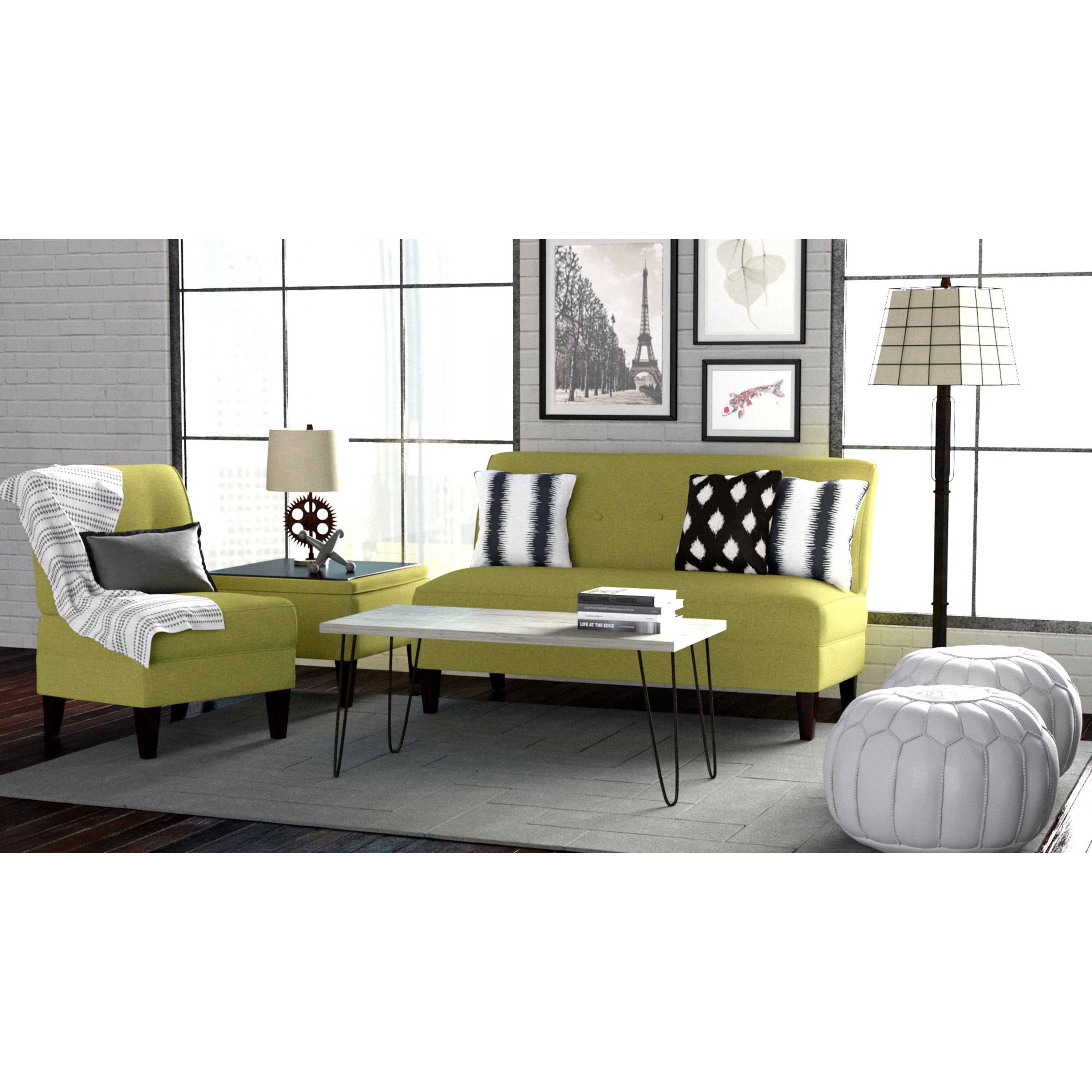 Shop Handy Living Engle Apple Green Linen 3 Piece Sofa Set   Free Shipping  Today   Overstock.com   6530108
