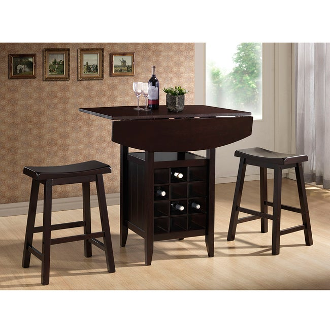 Merveilleux Shop Dark Brown Wood Drop Leaf Pub Set By Baxton Studio   Free Shipping  Today   Overstock.com   6532117