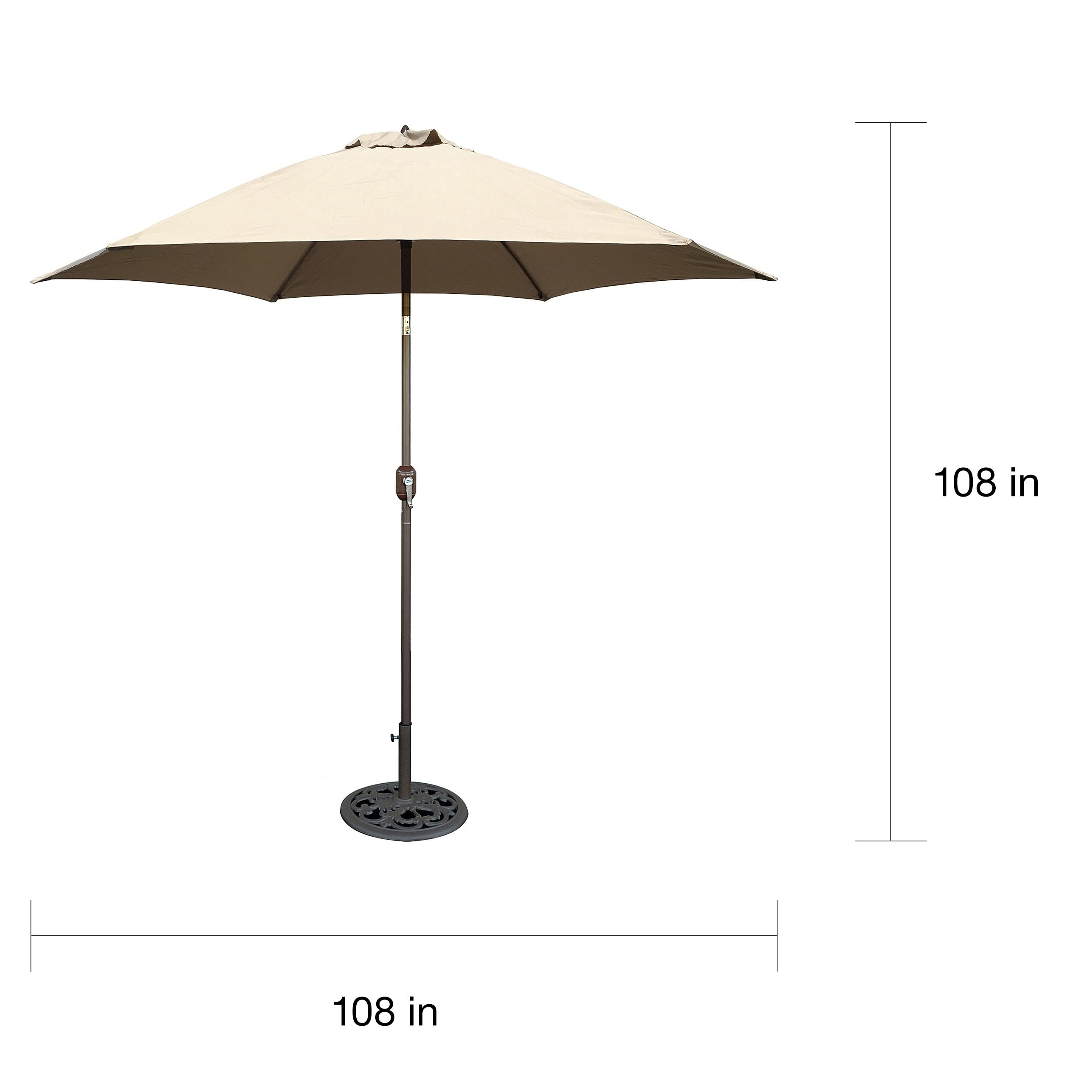 Aluminum Bronze Patio Umbrella With Beige Cover   Free Shipping Today    Overstock   14117992