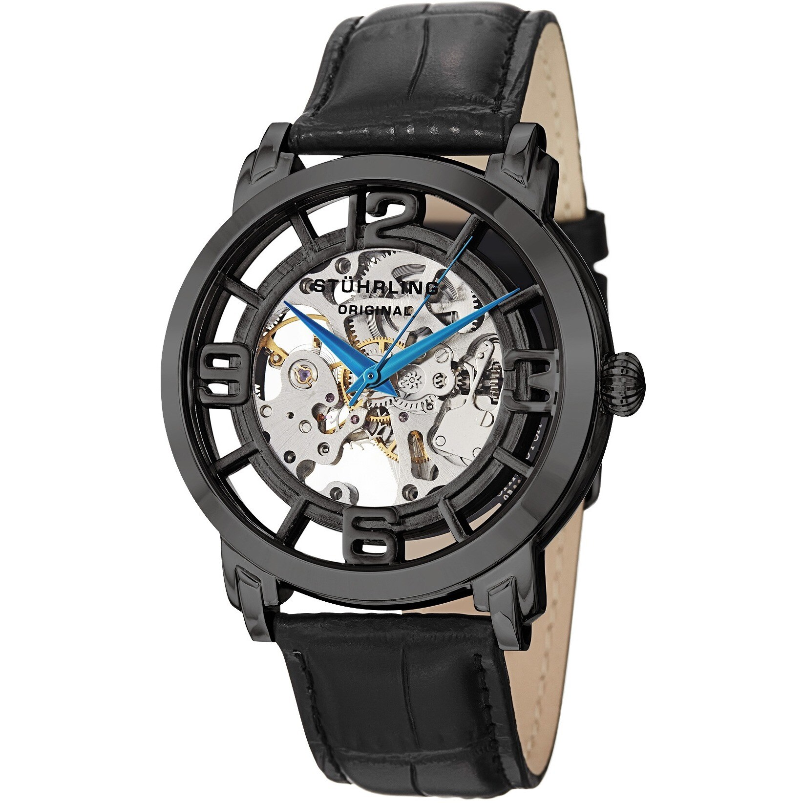 f9ff4cfe1 Stuhrling Original Men's Winchester 44 Skeleton Automatic Leather Strap  Watch