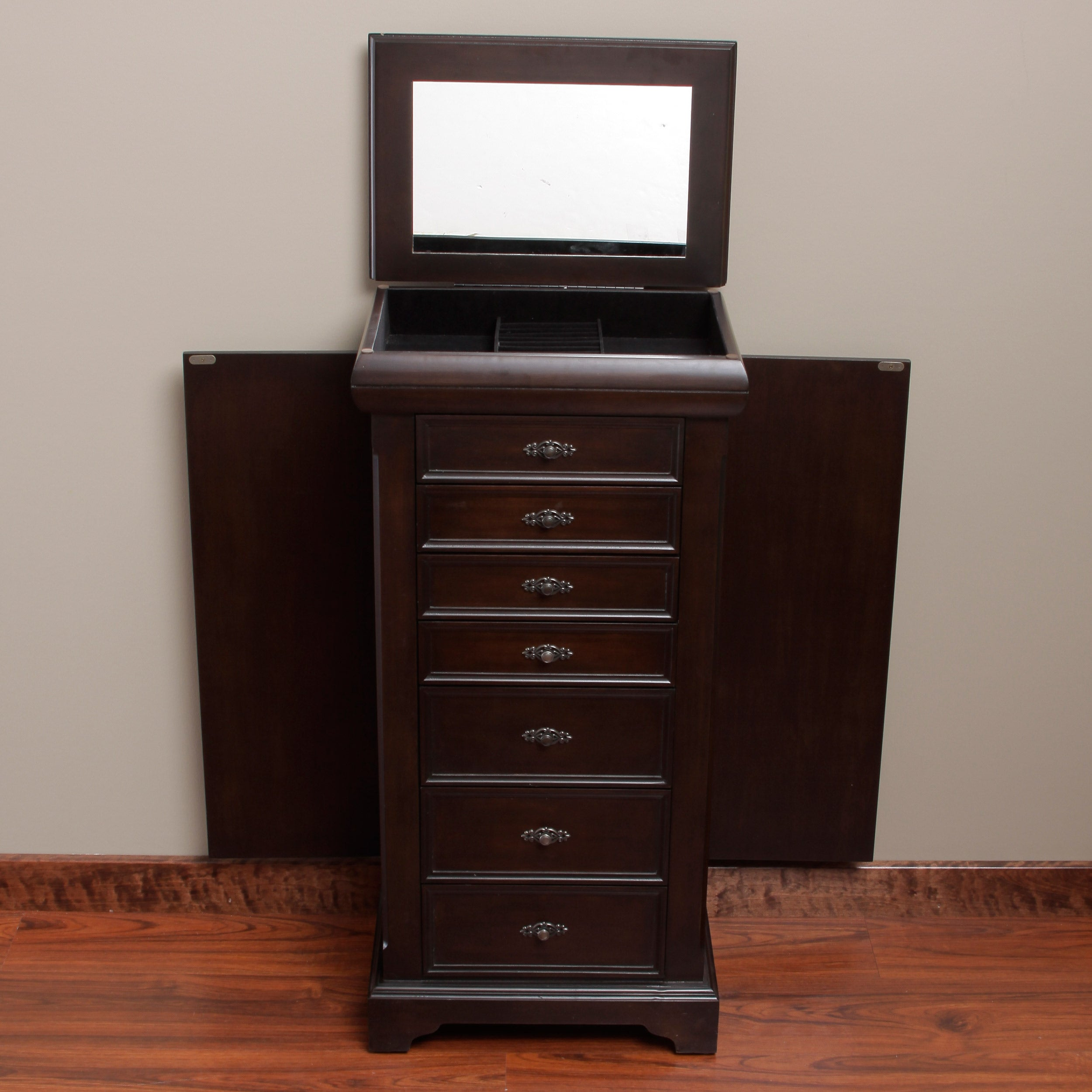 Louis 7 Drawer Locking Jewelry Armoire On Free Shipping Today 6541323