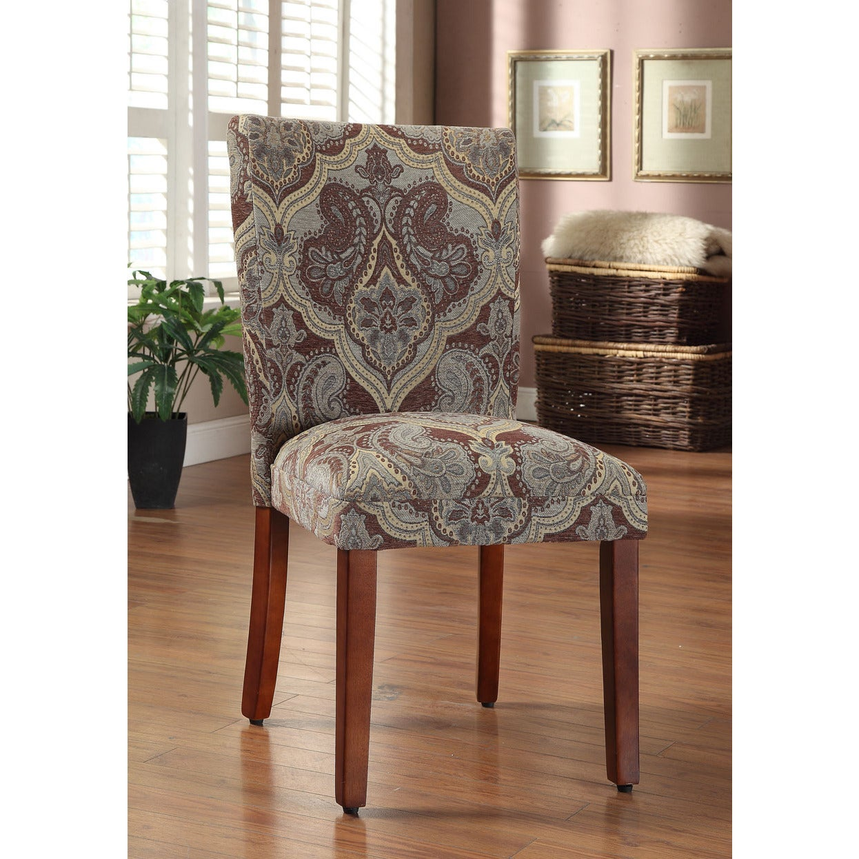 HomePop Blue And Brown Paisley Parson Chairs (Set Of 2)   Free Shipping  Today   Overstock   14123295