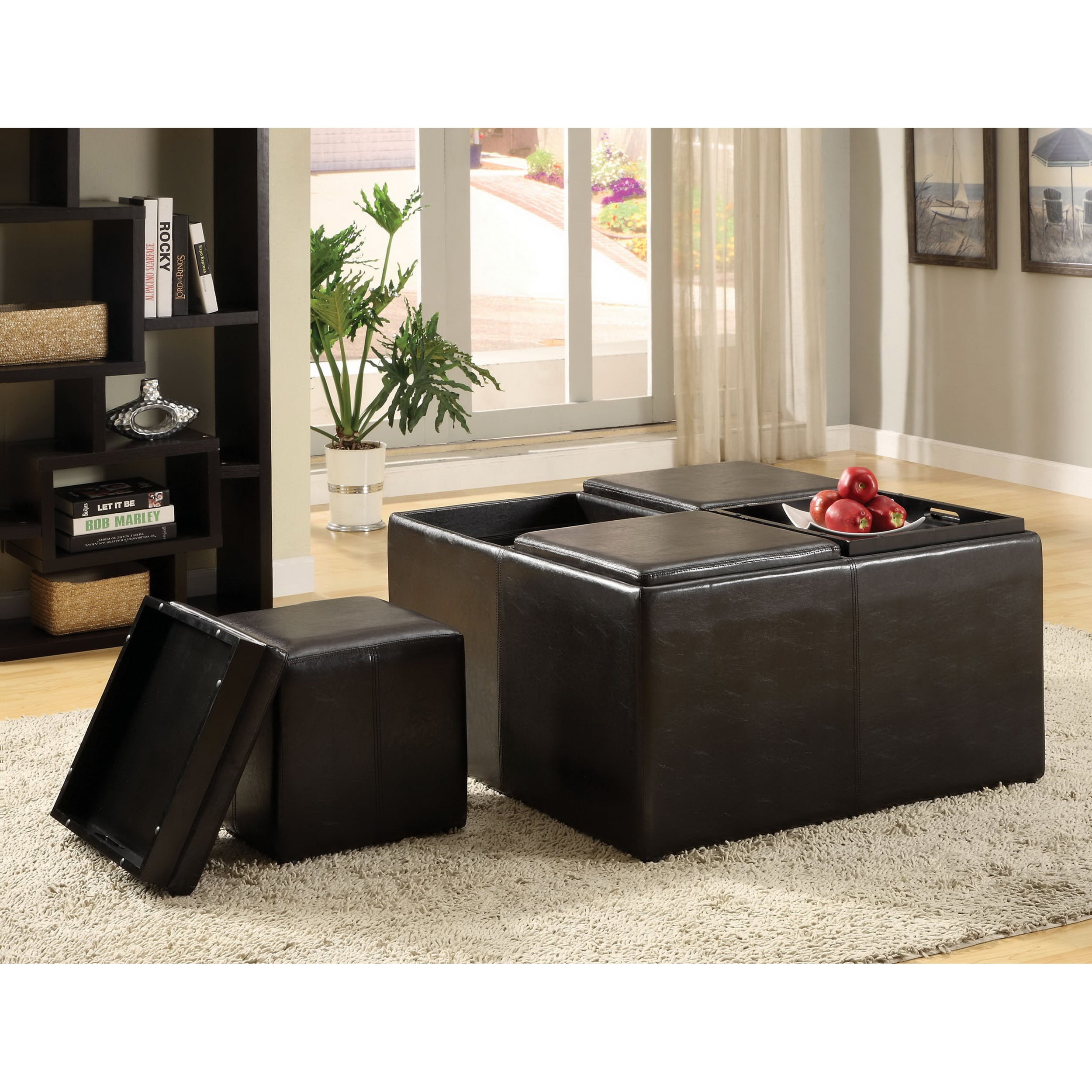 Shop Furniture Of America Miller Storage Ottoman With Four Nesting Stools  And Serving Trays   On Sale   Free Shipping Today   Overstock.com   6545997