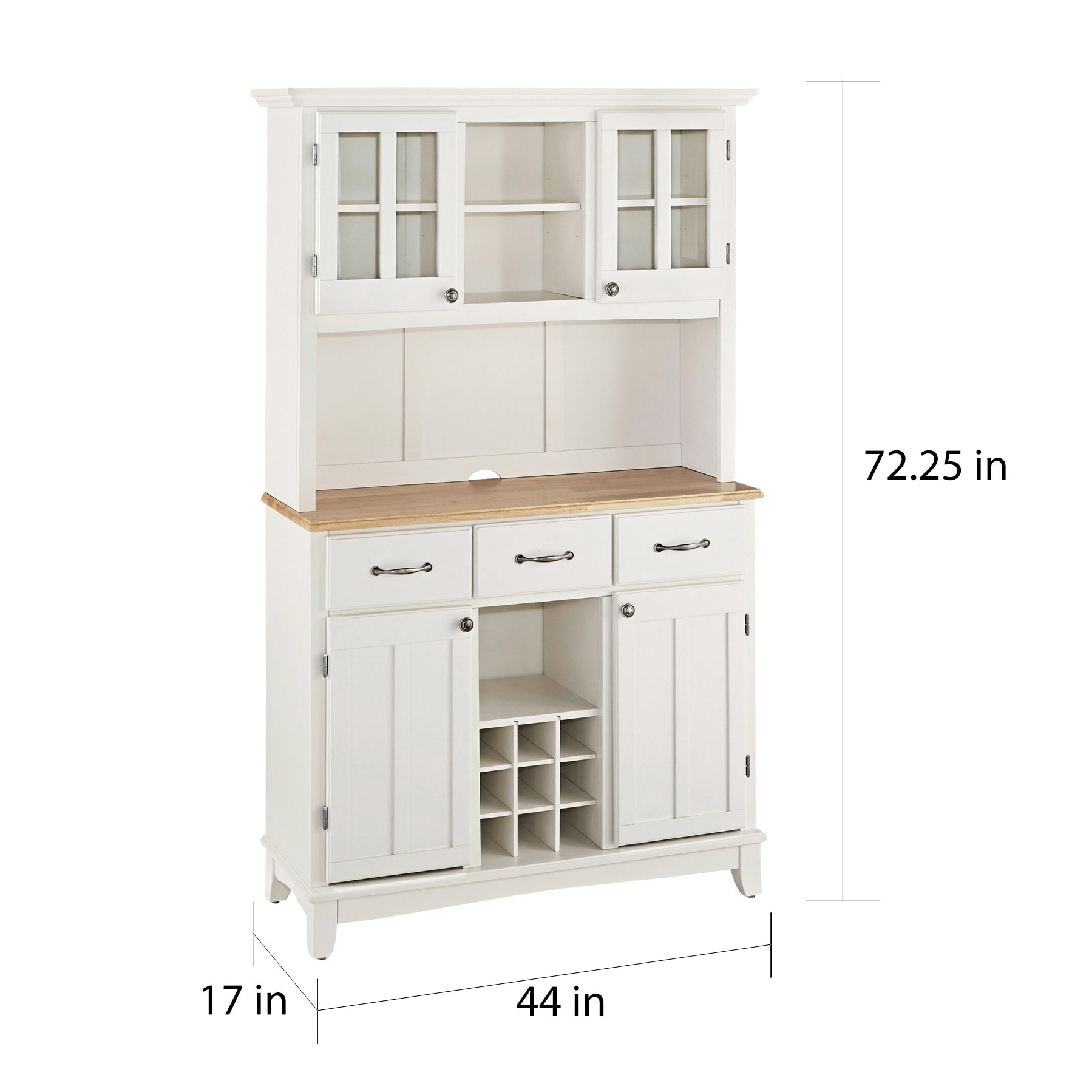 Shop White Hutch Buffet With Wood Top By Home Styles   On Sale   Free  Shipping Today   Overstock   6548371
