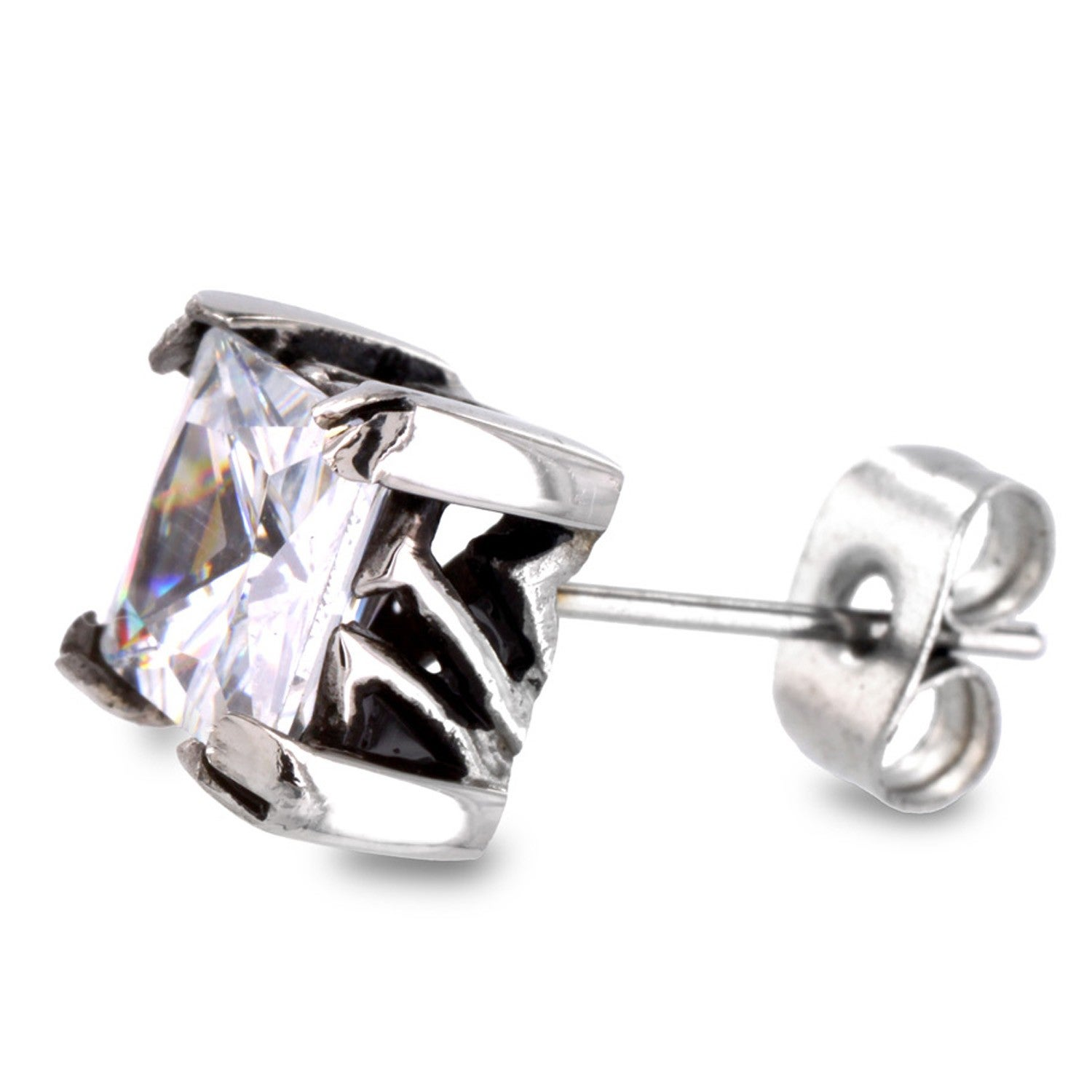Shop Stainless Steel Square Cubic Zirconia Stud Earrings White