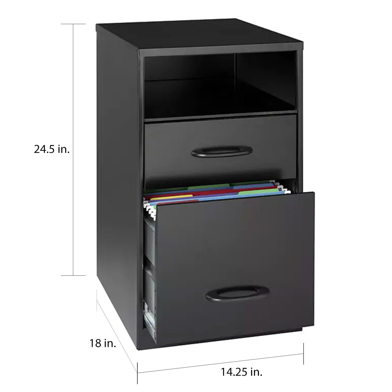 E Solutions 18 Deep 2 Drawer Metal File Cabinet With Shelf Black Free Shipping Today 6560212