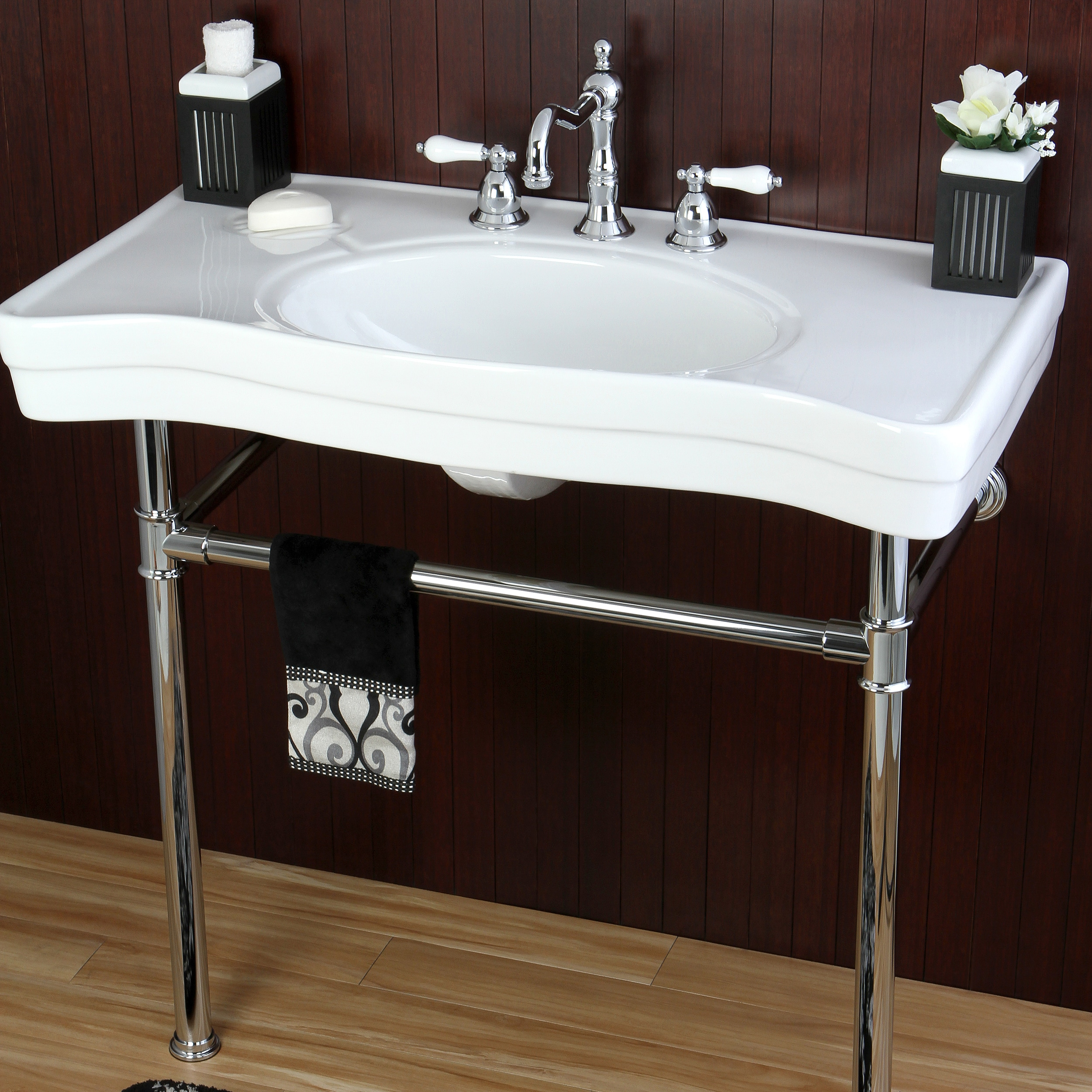 Shop Imperial Vintage 36-inch Wall-mount Chrome Pedestal Bathroom Sink Vanity - Free Shipping Today - Overstock.com - 6573333 & Shop Imperial Vintage 36-inch Wall-mount Chrome Pedestal Bathroom ...