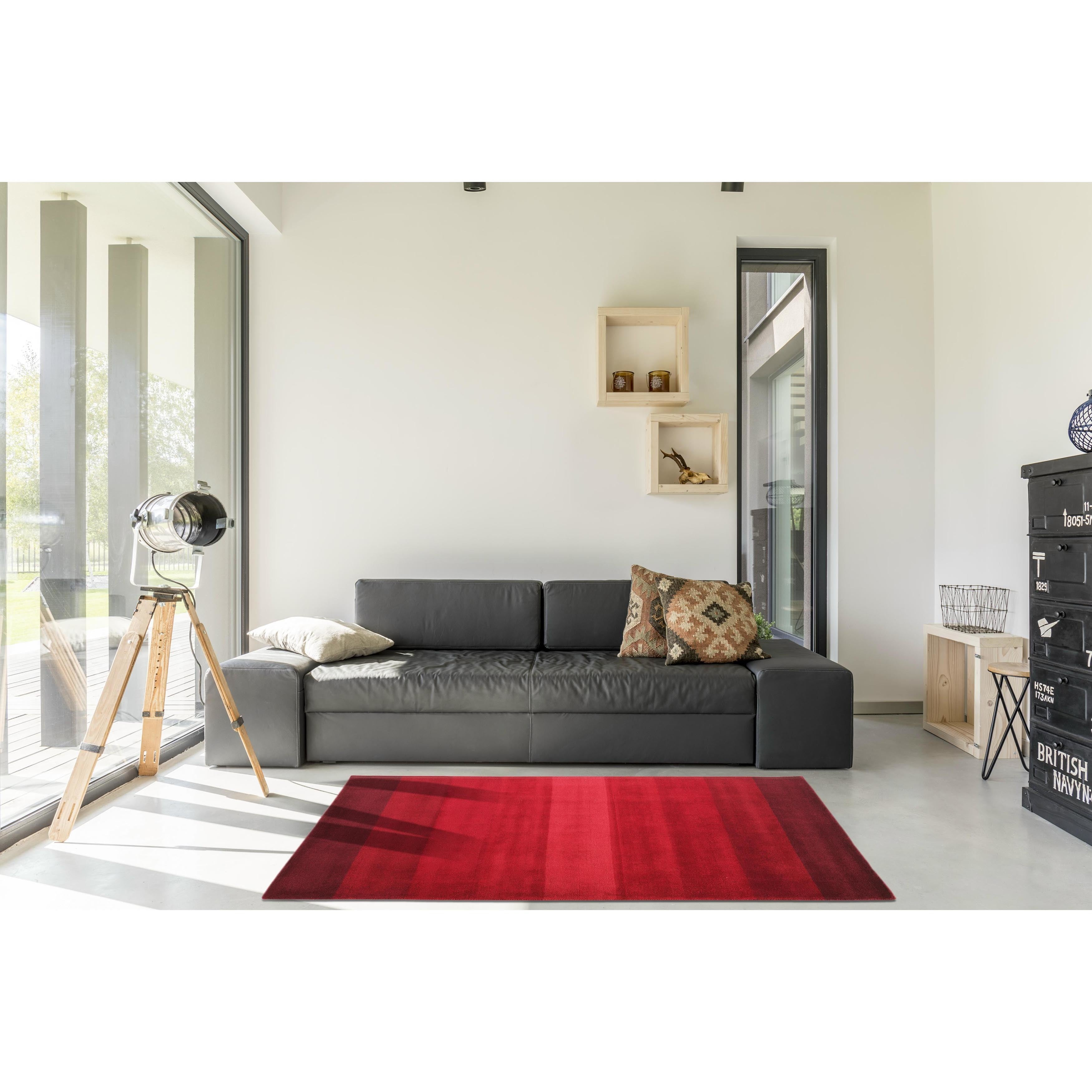 Shop Hand-tufted Red Stripe Wool Rug (8\' Round) - 8\' - On Sale ...